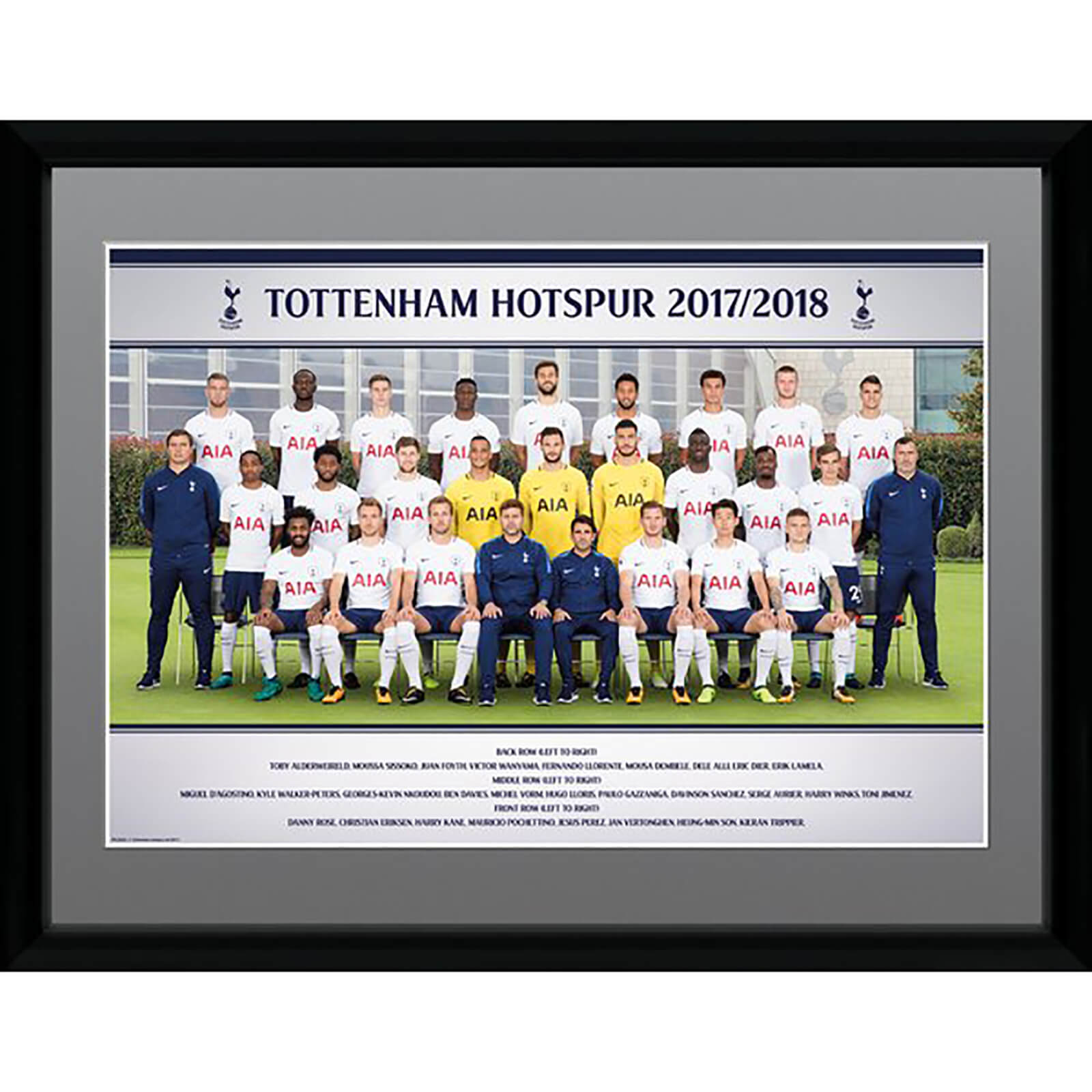 Tottenham Team Photo 17/18 Framed Photograph 12 x 16 Inch