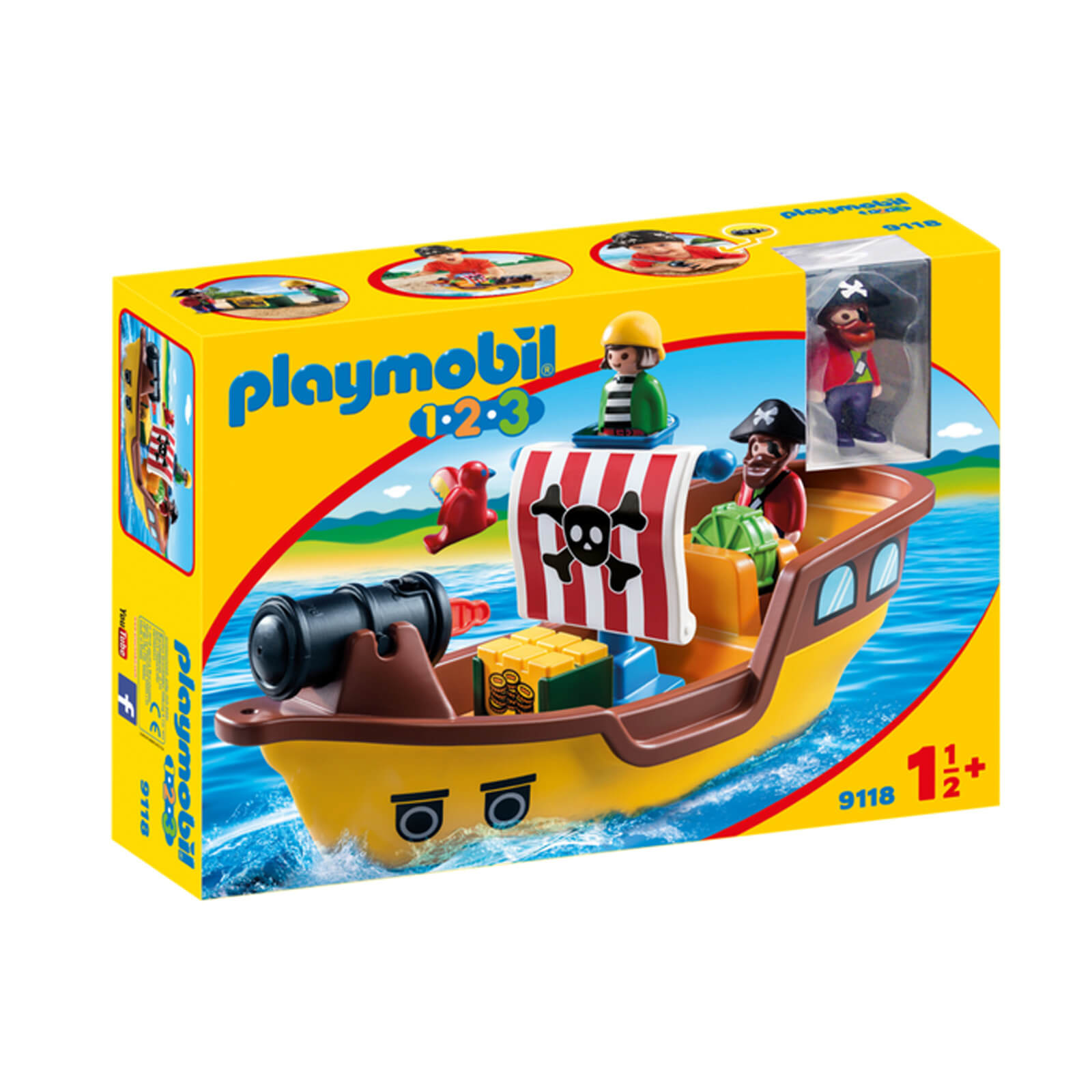Playmobil 1.2.3 Floating Pirate Ship with Firing Water Cannon (9118)
