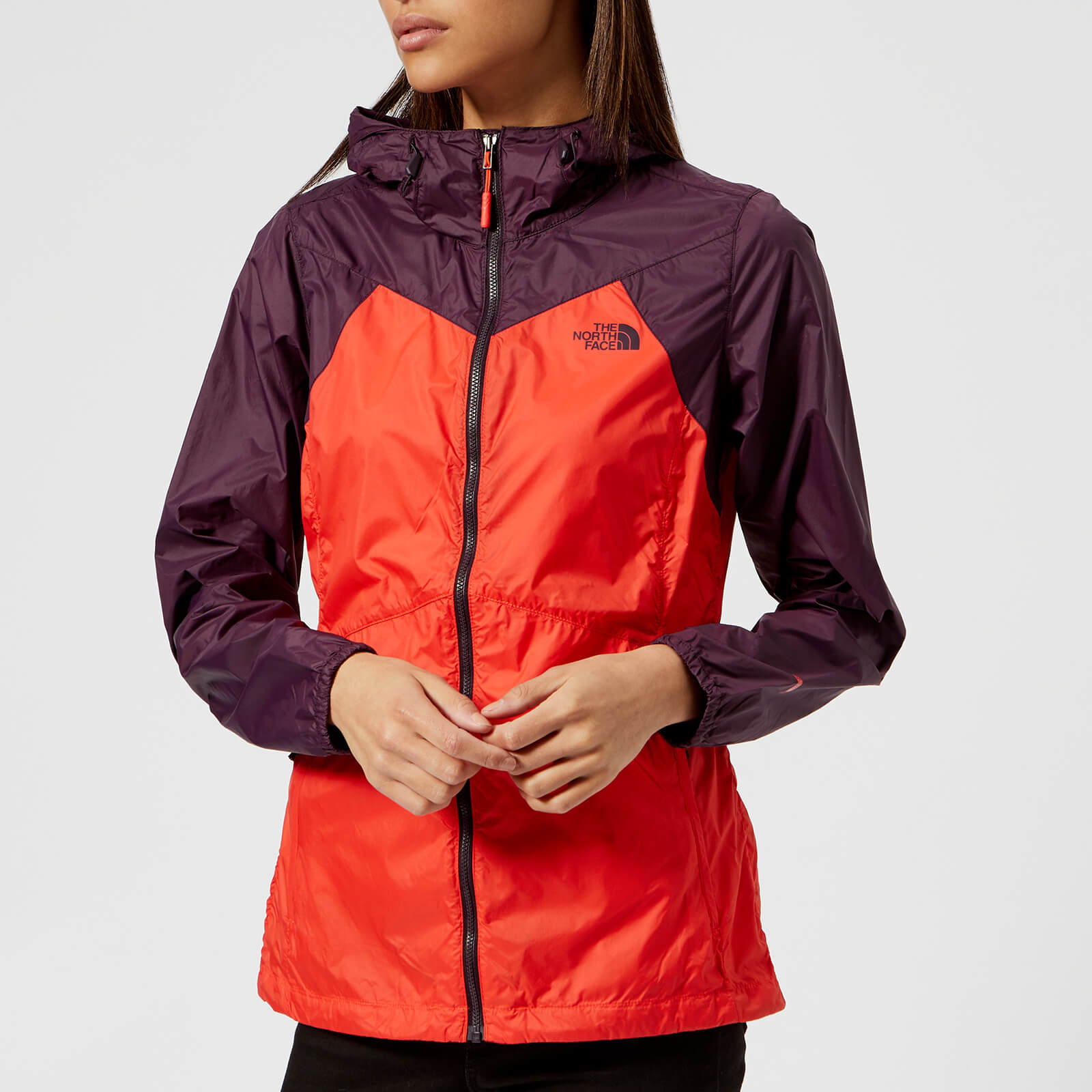 6565bf58a The North Face Women's Flyweight Hoodie - Fire Brick Red/Galaxy Purple