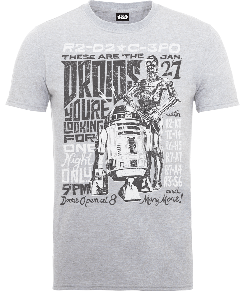Star Wars Droids Rock Poster T-Shirt - Grey