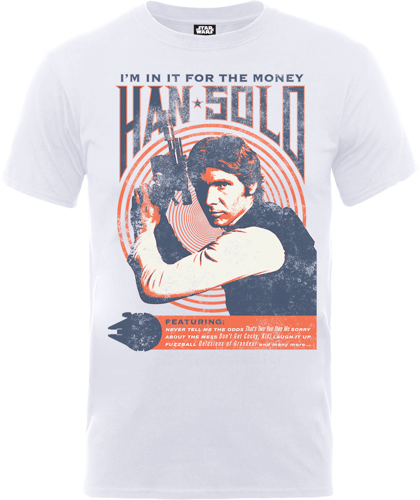 Star Wars Han Solo Retro Poster T-Shirt - White
