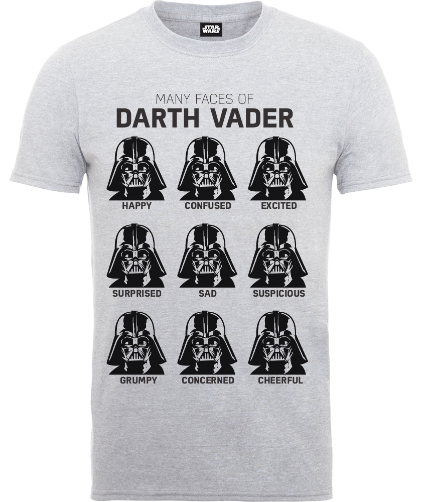 Star Wars Many Faces Of Darth Vader T-Shirt - Grey