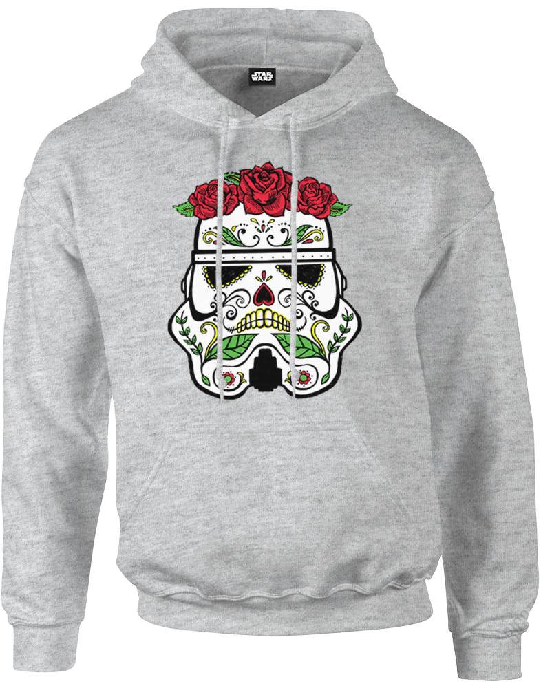 star wars day of the dead stormtrooper pullover hoodie grey iwoot. Black Bedroom Furniture Sets. Home Design Ideas
