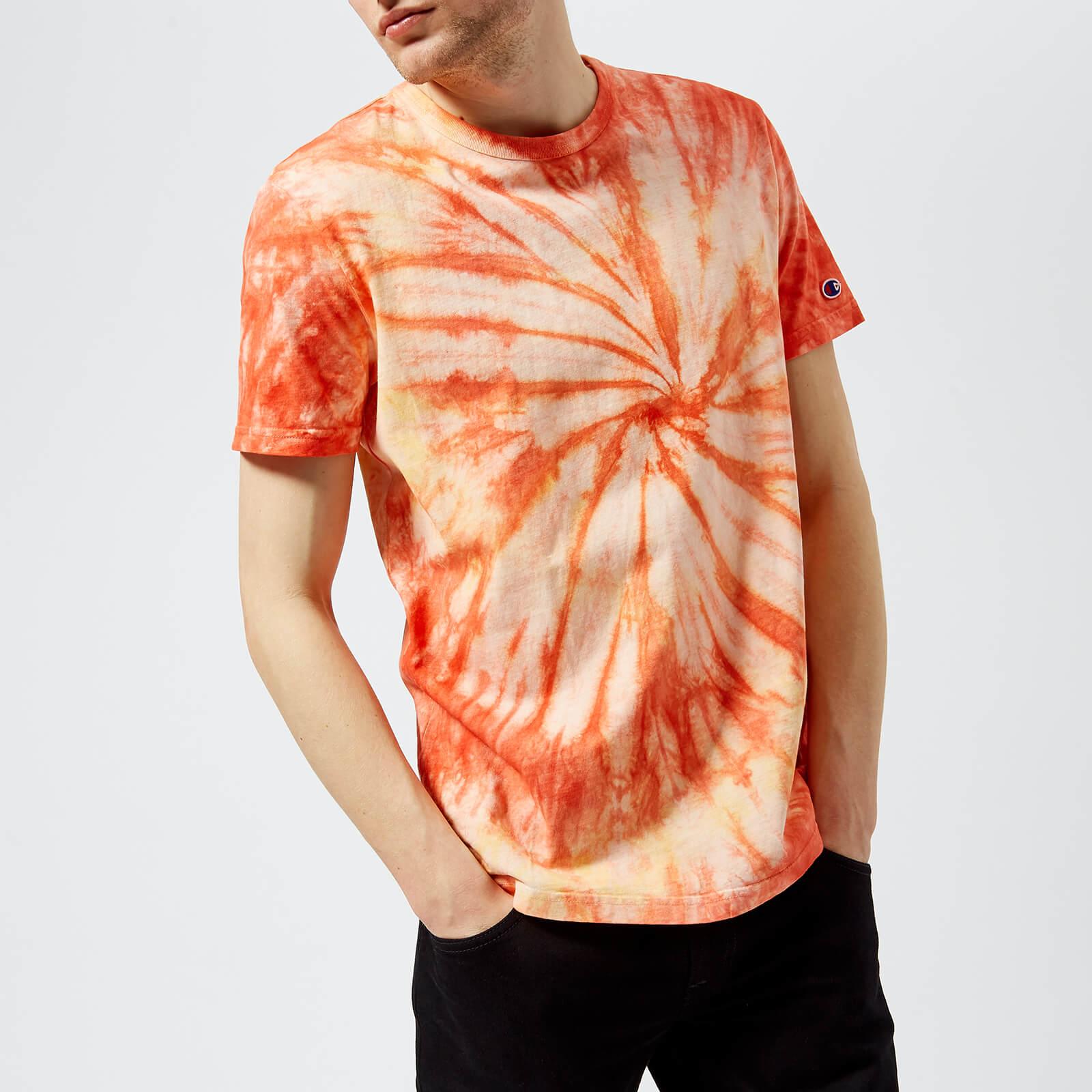44ad6b90f0be Champion Men's 68 Weave Crew Tie Dye T-Shirt - Coral Clothing | TheHut.com