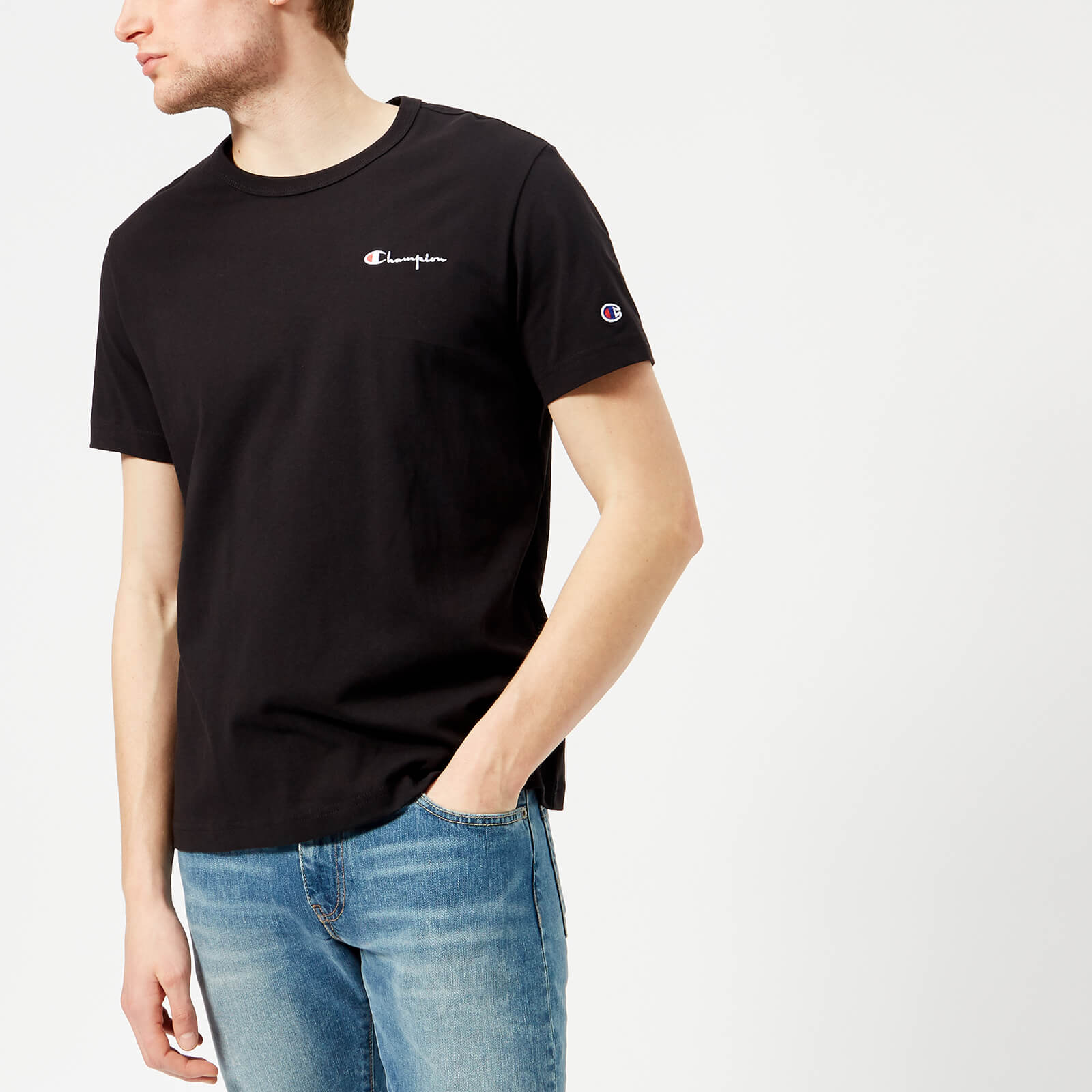 1df95055 Champion Men's Short Sleeve Small Script T-Shirt - Black - Free UK Delivery  over £50