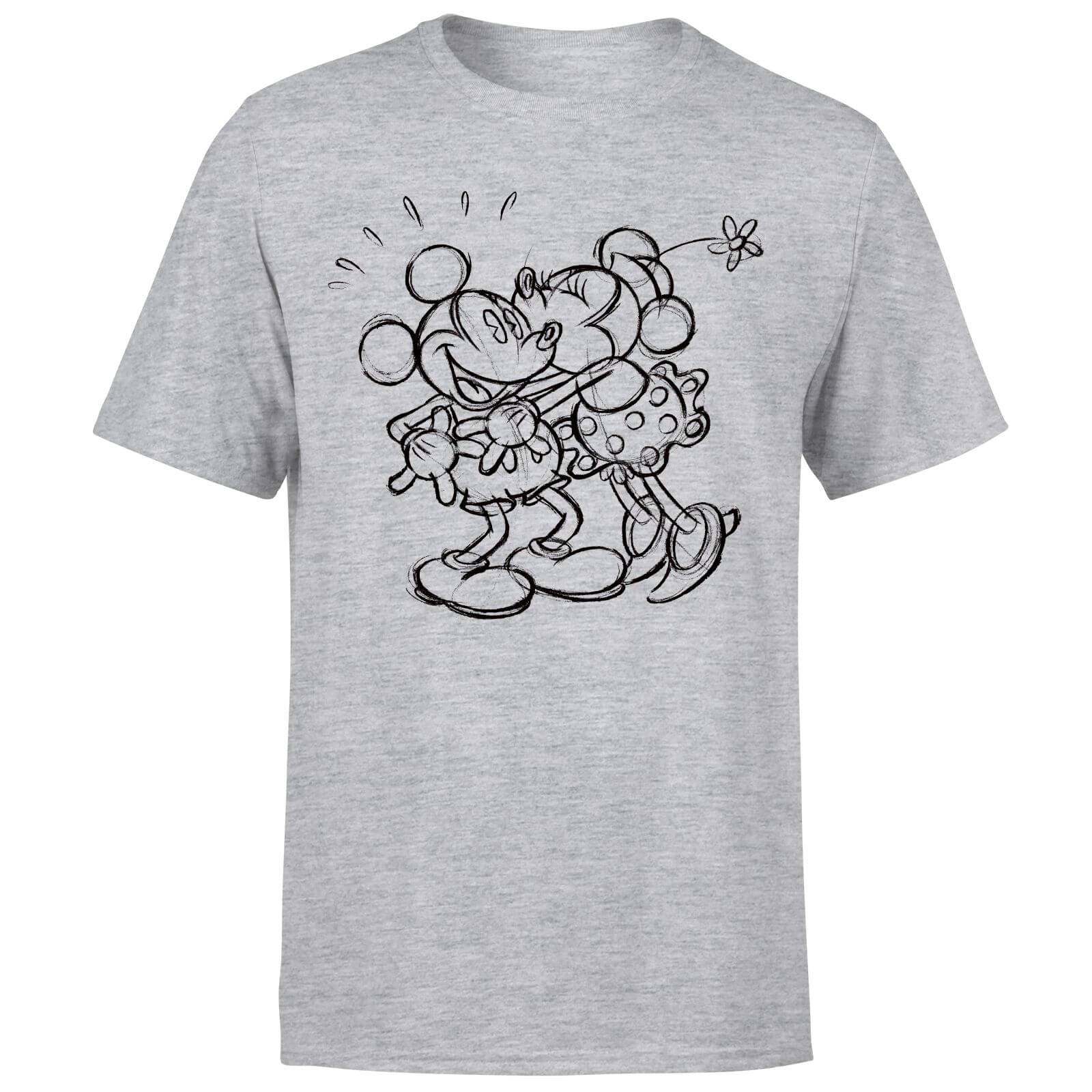 Disney Mickey Mouse Kissing Sketch T-Shirt - Grey