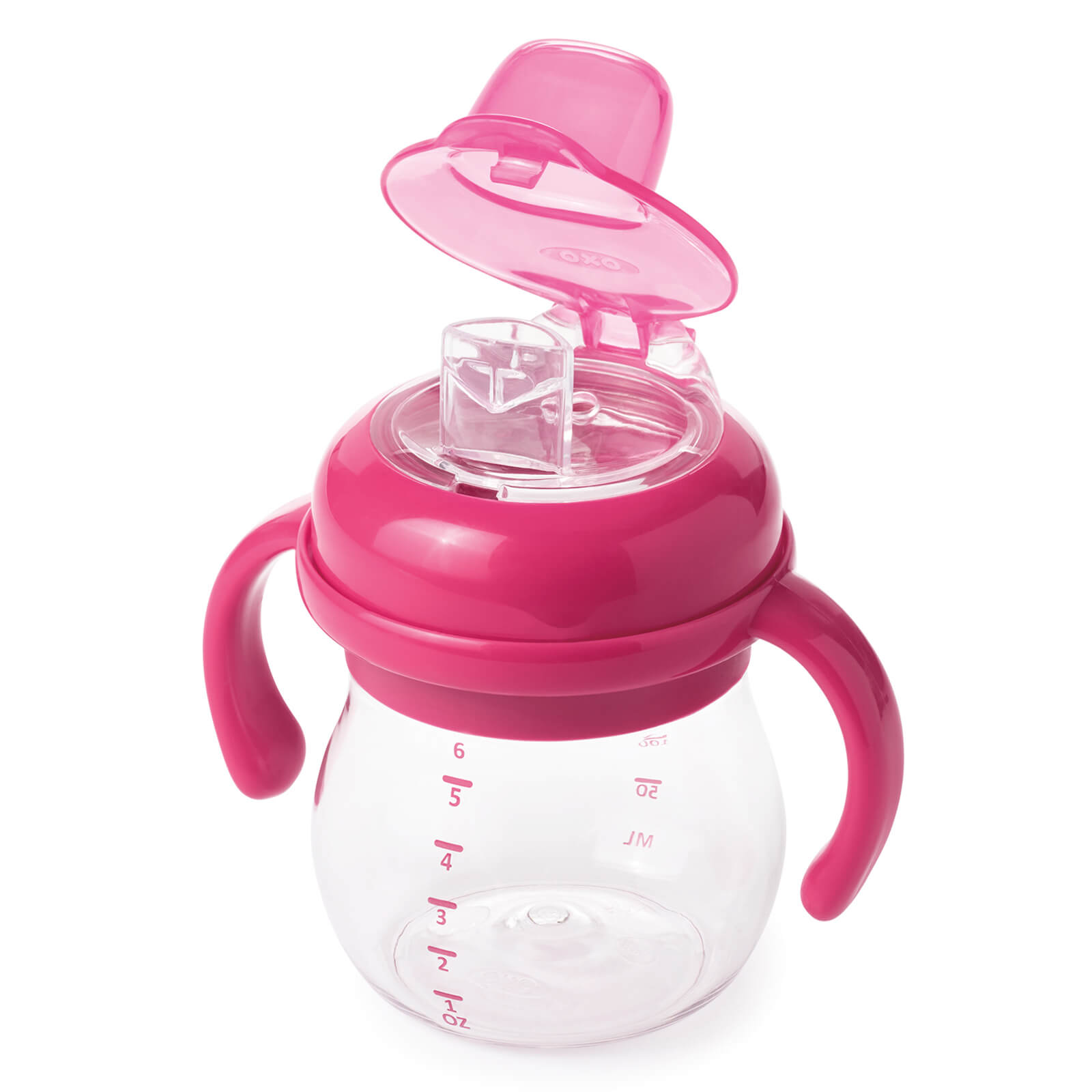 OXO Transitions - Soft Spout Sippy Cup with Handles 175ml - Raspberry