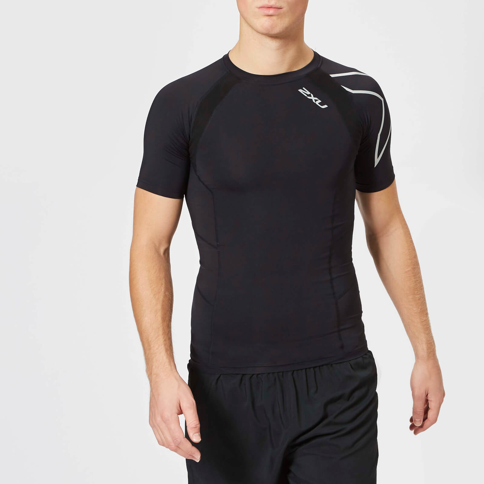 eac74b9659 2XU Men's Compression Short Sleeve Top - Black - Free UK Delivery over £50