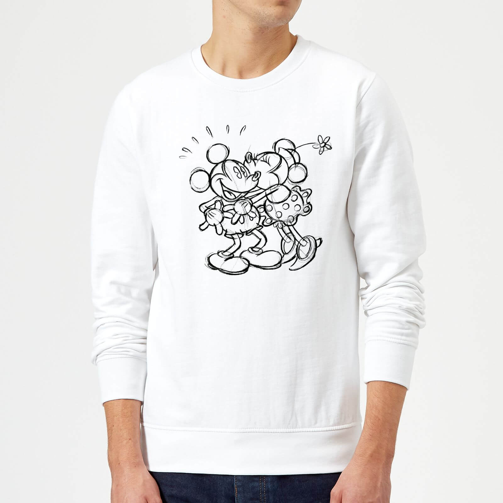 Disney Mickey Mouse Kissing Sketch Pullover Weiß