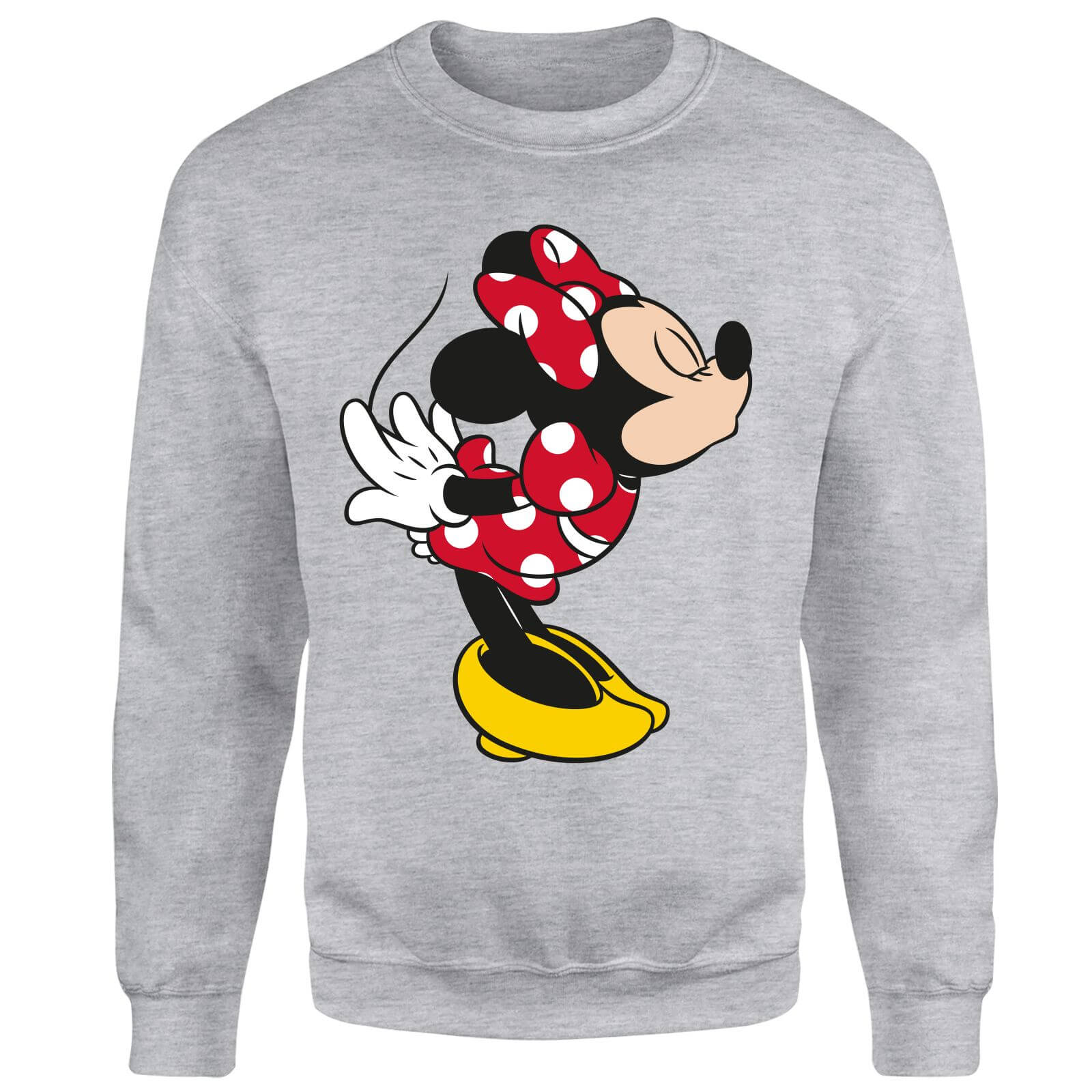 Disney Mickey Mouse Minnie Split Kiss Sweatshirt - Grey