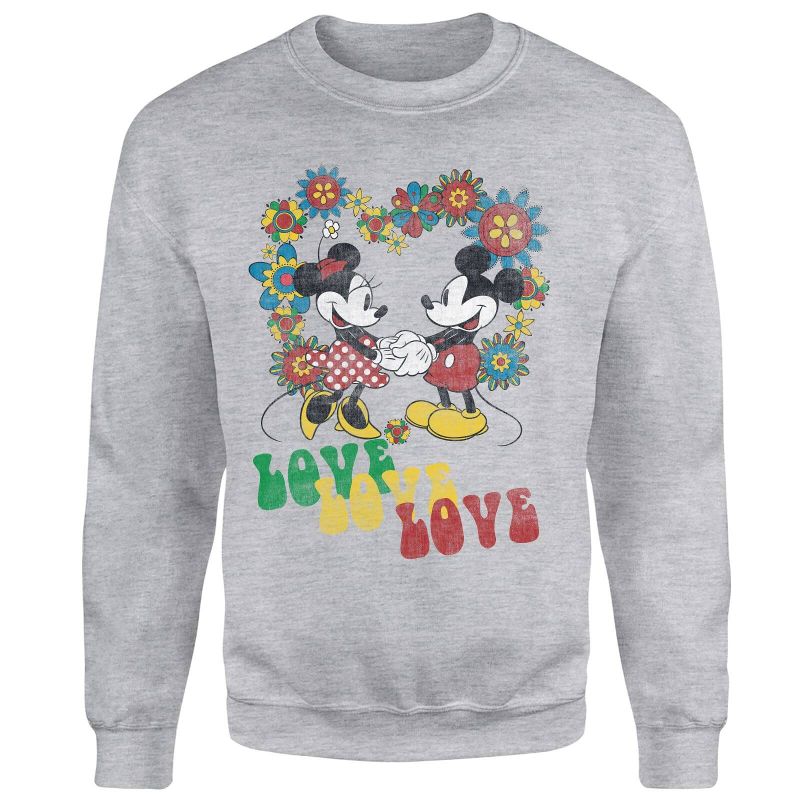 Disney Mickey Mouse Hippie Love Sweatshirt - Grey