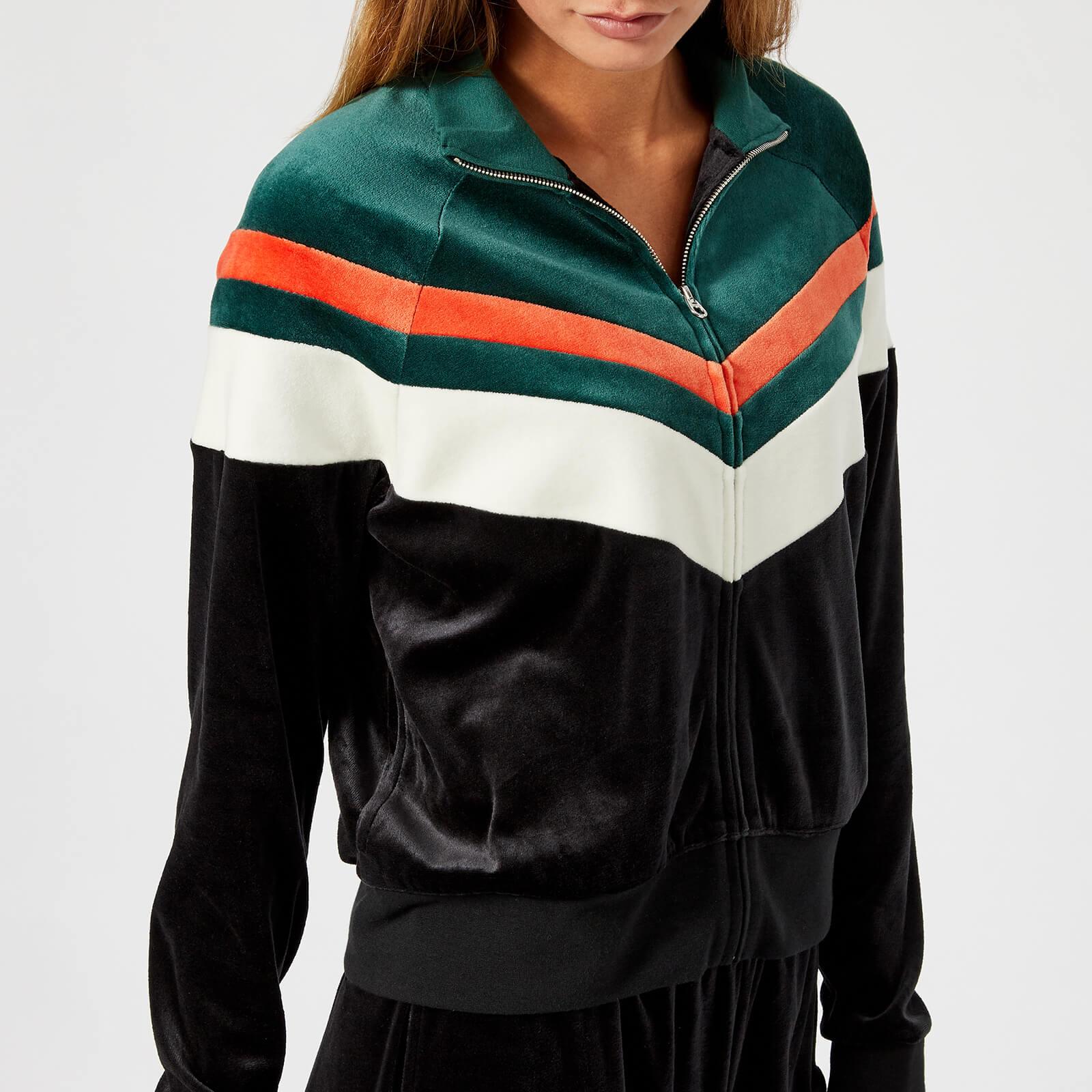 364b9840d Juicy Couture Women's Colourblock Lightweight Velour Palisades Jacket -  Pitch Black Dark Absinthe Combo Womens Clothing   TheHut.com