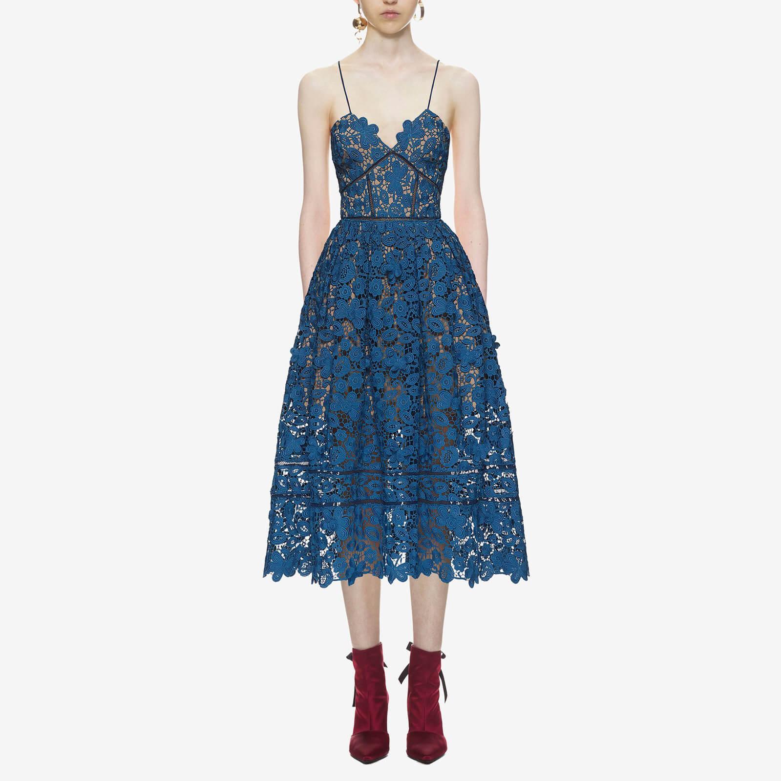 d99ce7becfe7 Self-Portrait Women's 3D Floral Azaelea Dress - Slate Blue - Free UK  Delivery over £50