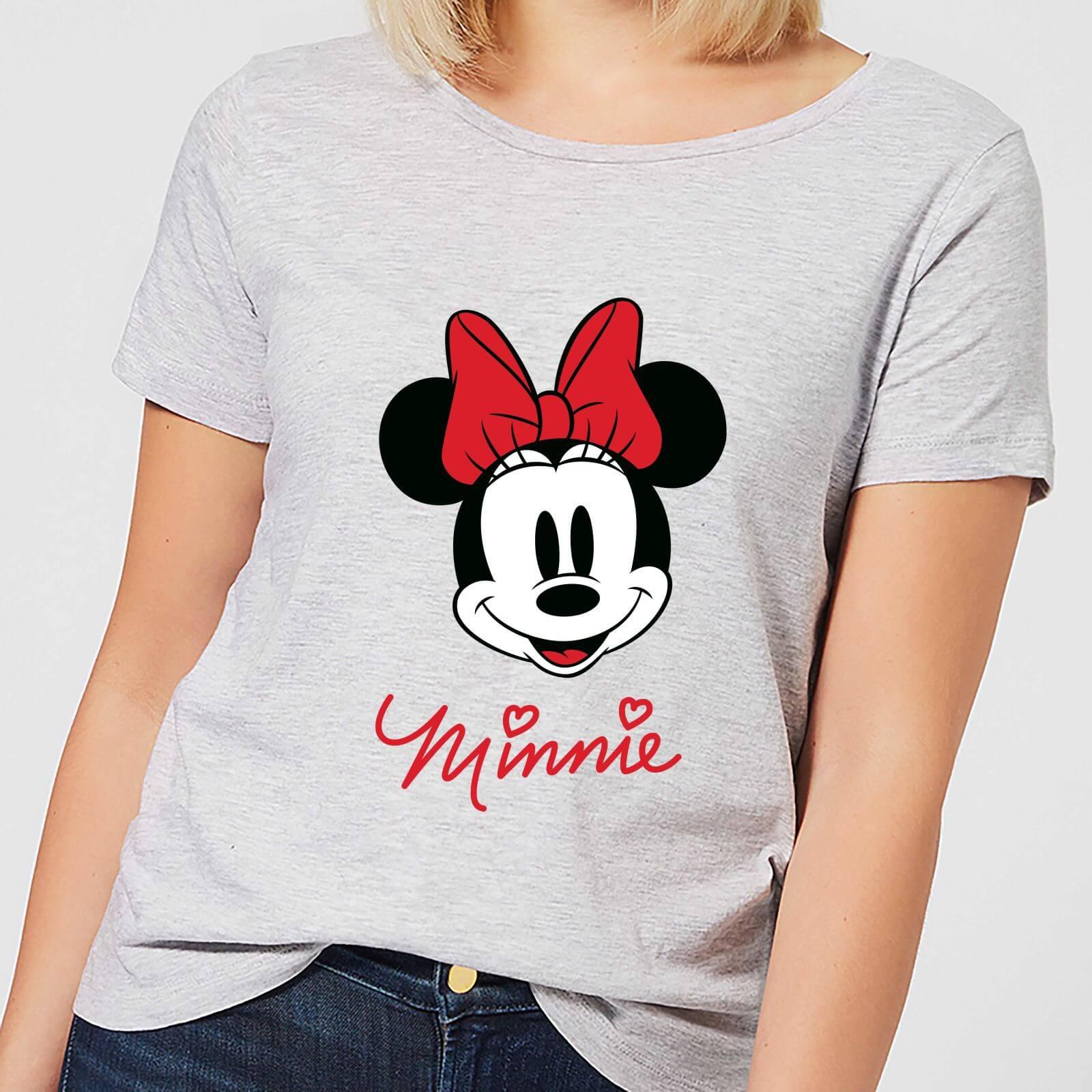 3edaf577 Disney Mickey Mouse Minnie Face Women's T-Shirt - Grey Clothing | Zavvi