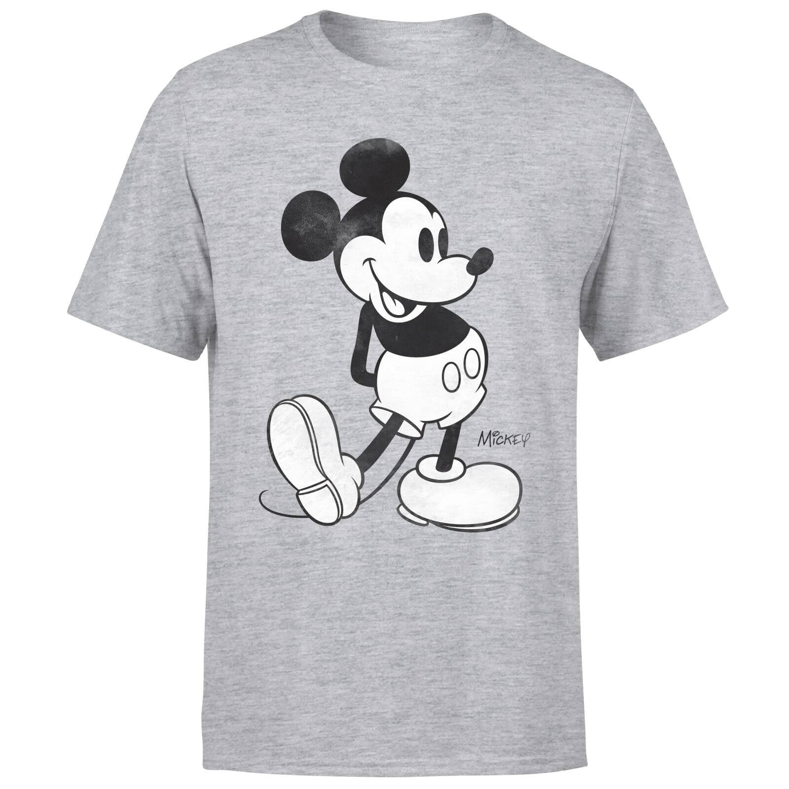 Disney Mickey Mouse Classic Kick B&W T-Shirt - Grey