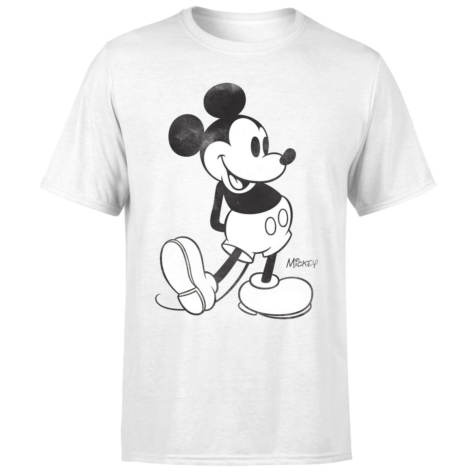 Disney Mickey Mouse Classic Kick B&W T-Shirt - White