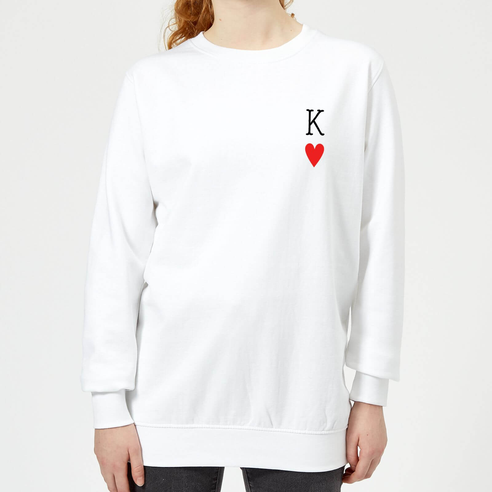 King Of Hearts Womens Sweatshirt White Clothing Zavvi