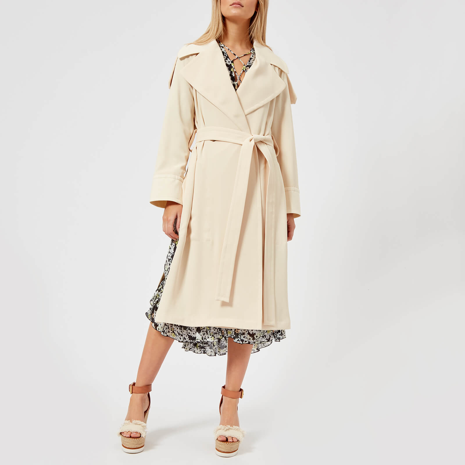 9315c70a8f See By Chloé Women's Long Trench Coat Style Jacket - Angora Beige
