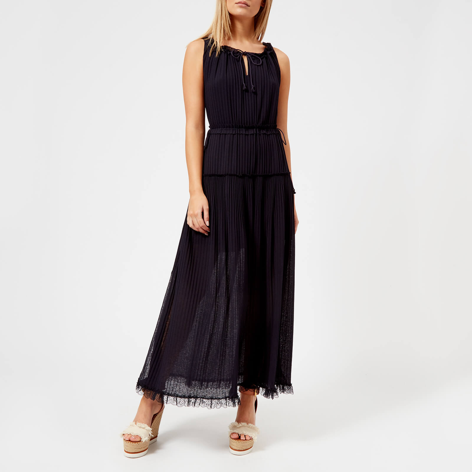86e7660333 See By Chloé Women's Pleated Maxi Dress - Ink Navy