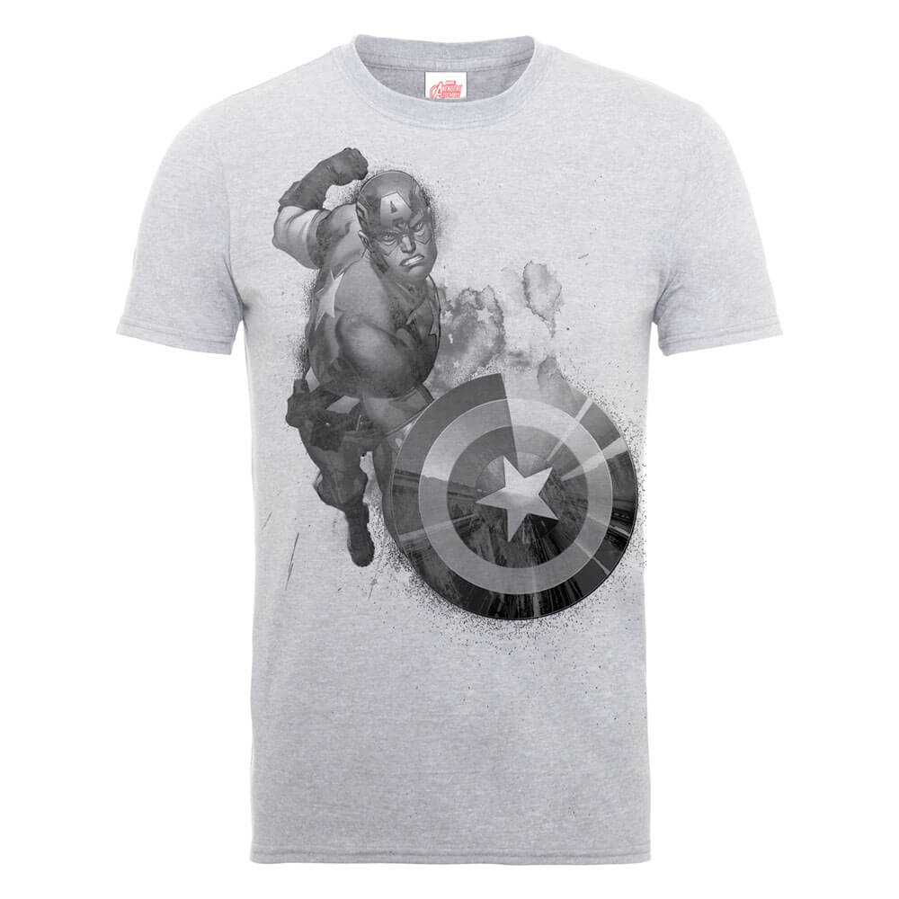 Marvel Avengers Assemble Captain America Mono T-Shirt - Grey