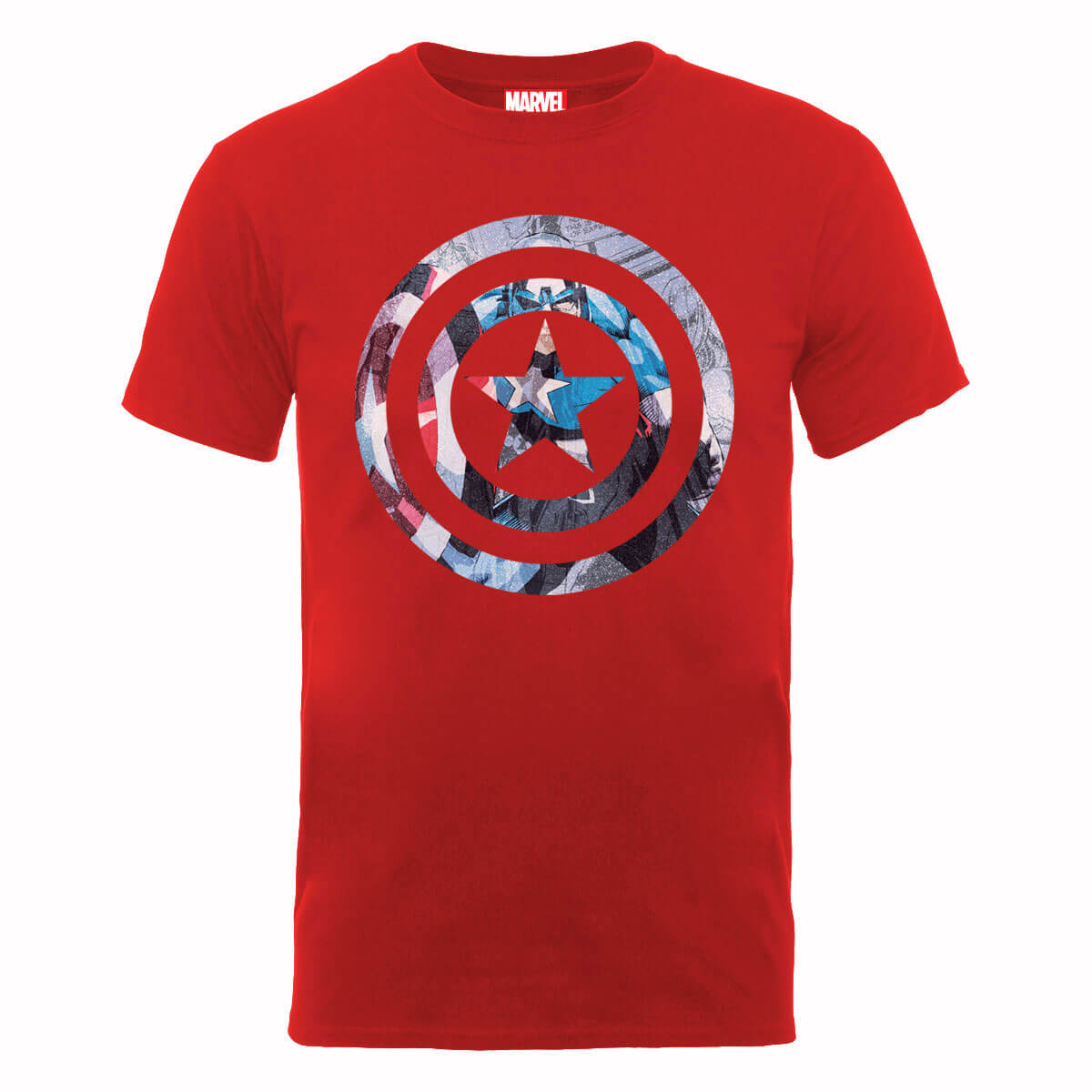 Marvel Avengers Assemble Captain America Shield Montage T-Shirt - Red Clothing | Zavvi US