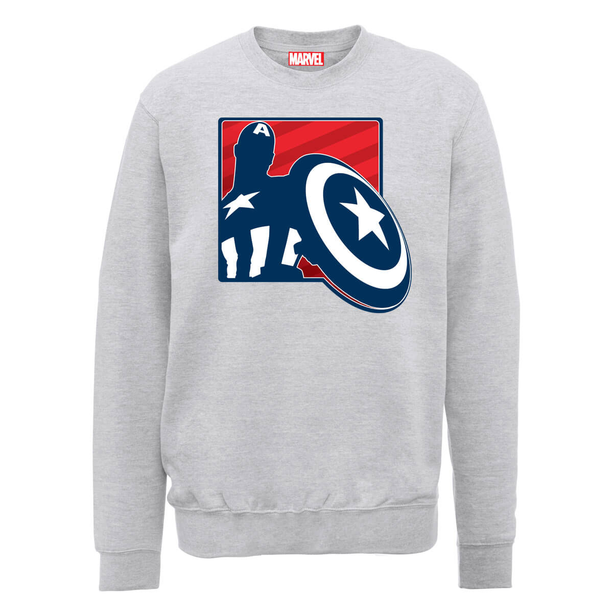 Marvel Avengers Assemble Captain America Badge Outline Sweatshirt - Grey