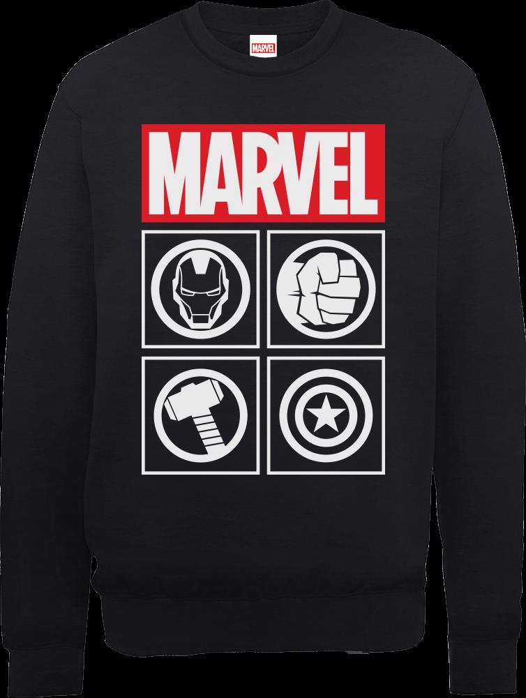 b66722ee03f9 Marvel Avengers Assemble Icons Pullover Sweatshirt - Black   IWOOT