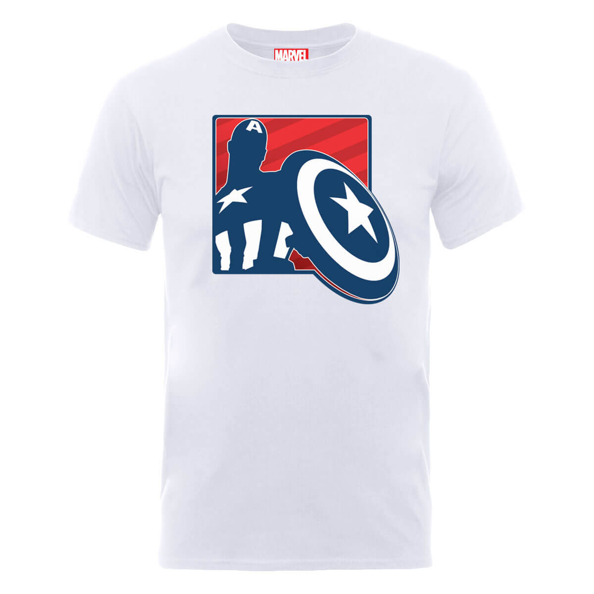 Marvel Avengers Assemble Captain America Outline Badge T-Shirt - White