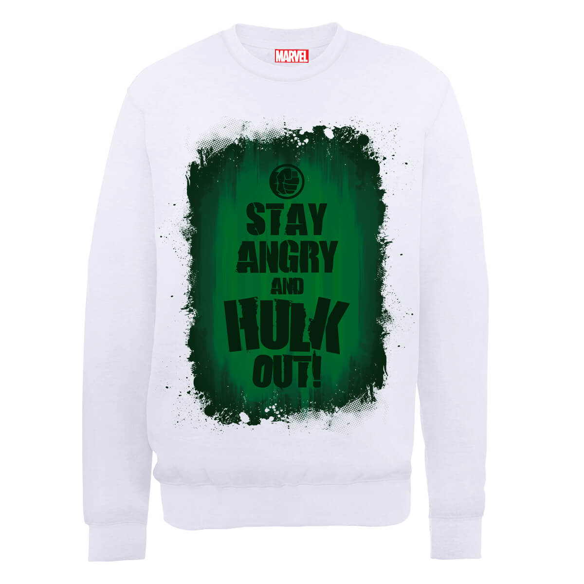 Marvel Avengers Assemble Hulk Stay Angry Sweatshirt - White