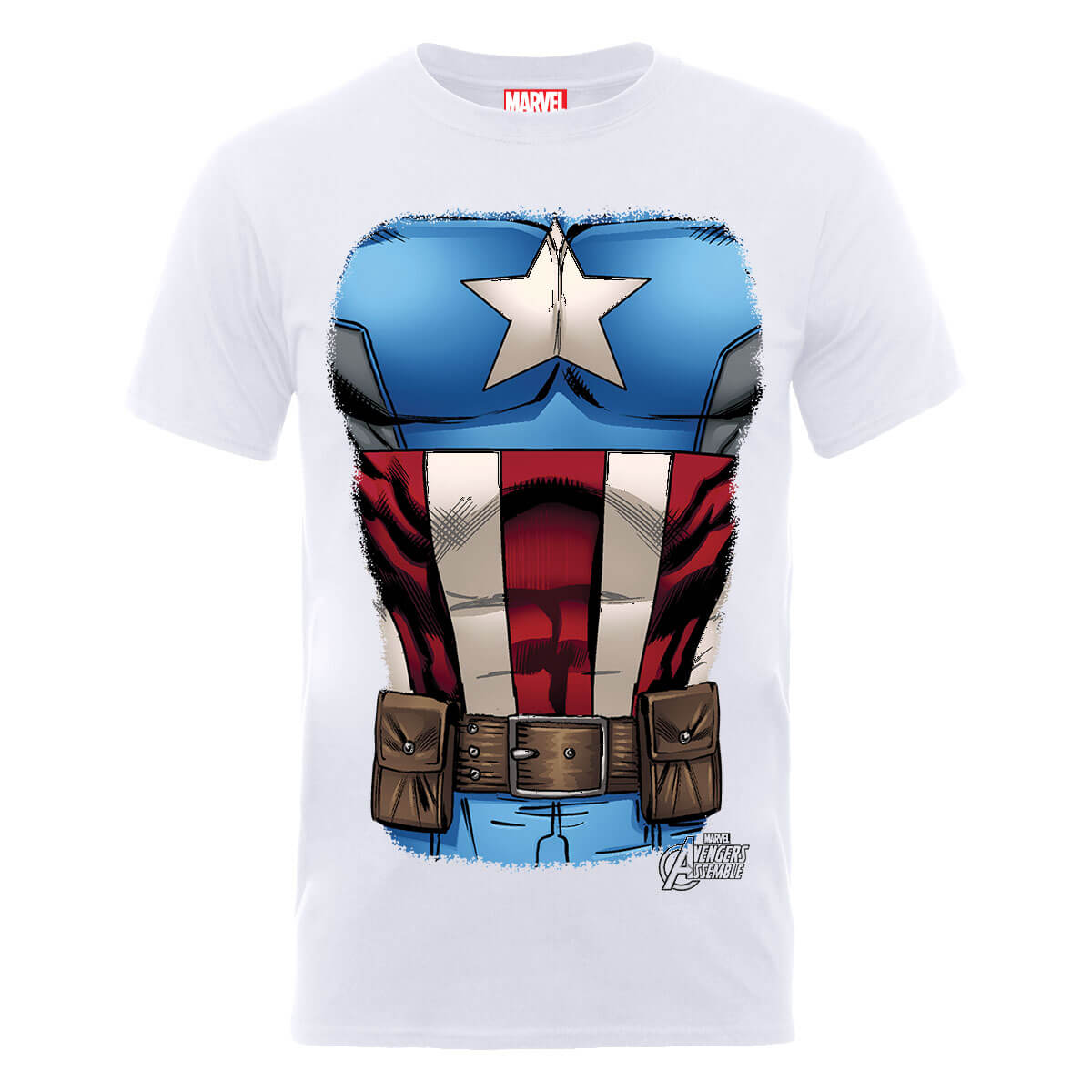 Marvel Avengers Assemble Captain America Chest T-Shirt - White