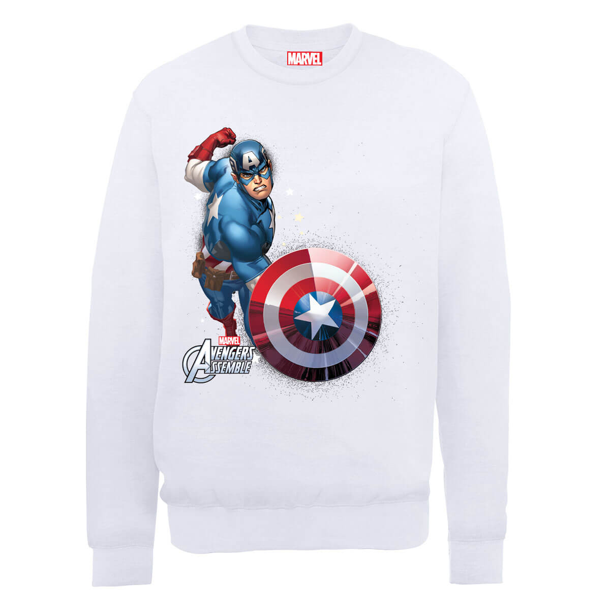 Marvel Avengers Assemble Captain America Comic Burst Sweatshirt - White