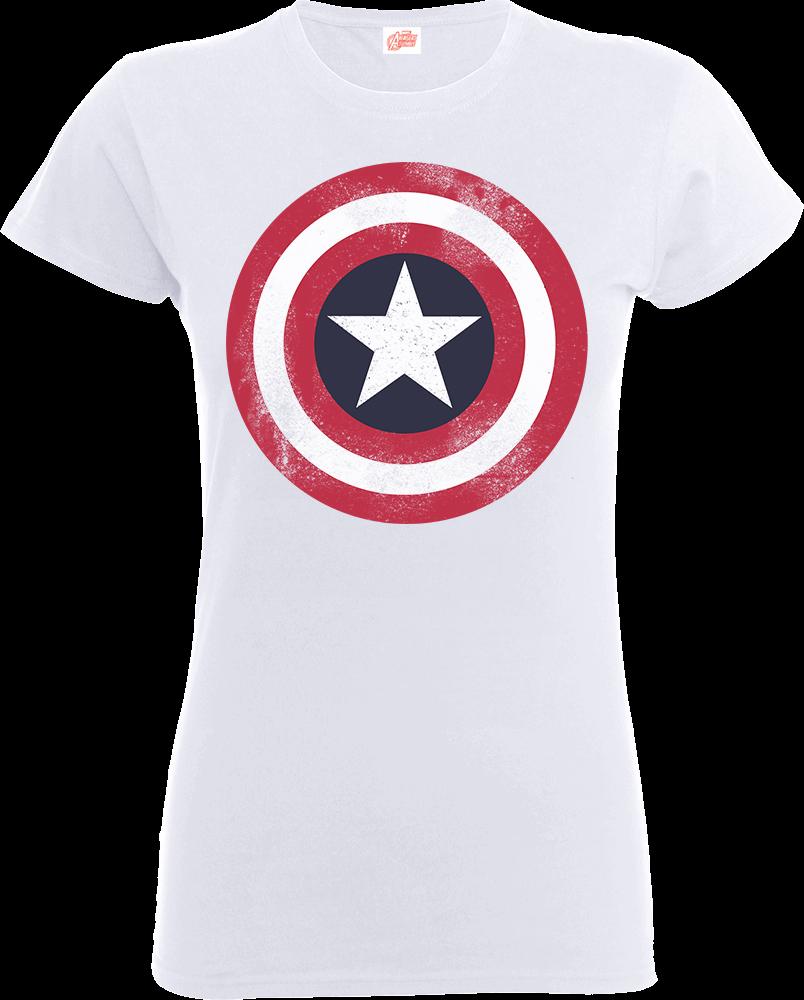 c2df6cd75d6 Marvel Avengers Assemble Captain America Distressed Shield Women s T-Shirt  - White