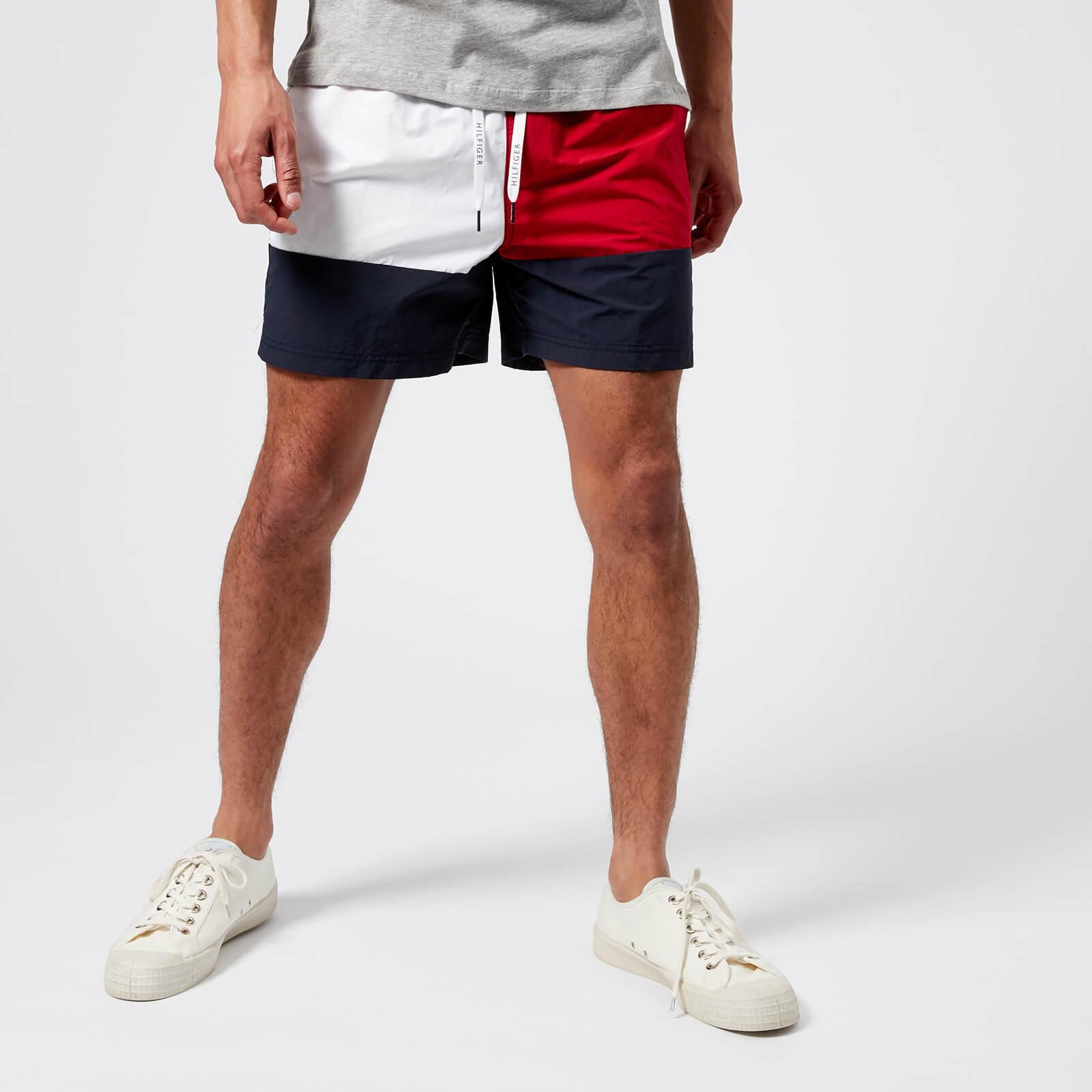 518cc0e1a Tommy Hilfiger Men's Medium Drawstring Flag Swim Shorts - Navy Blazer/Tango  Red