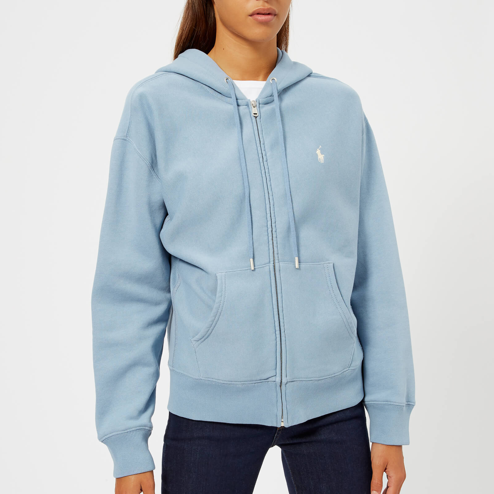 22737939d11 Polo Ralph Lauren Women s Logo Zip Through Hooded Top - Channel Blue - Free  UK Delivery over £50