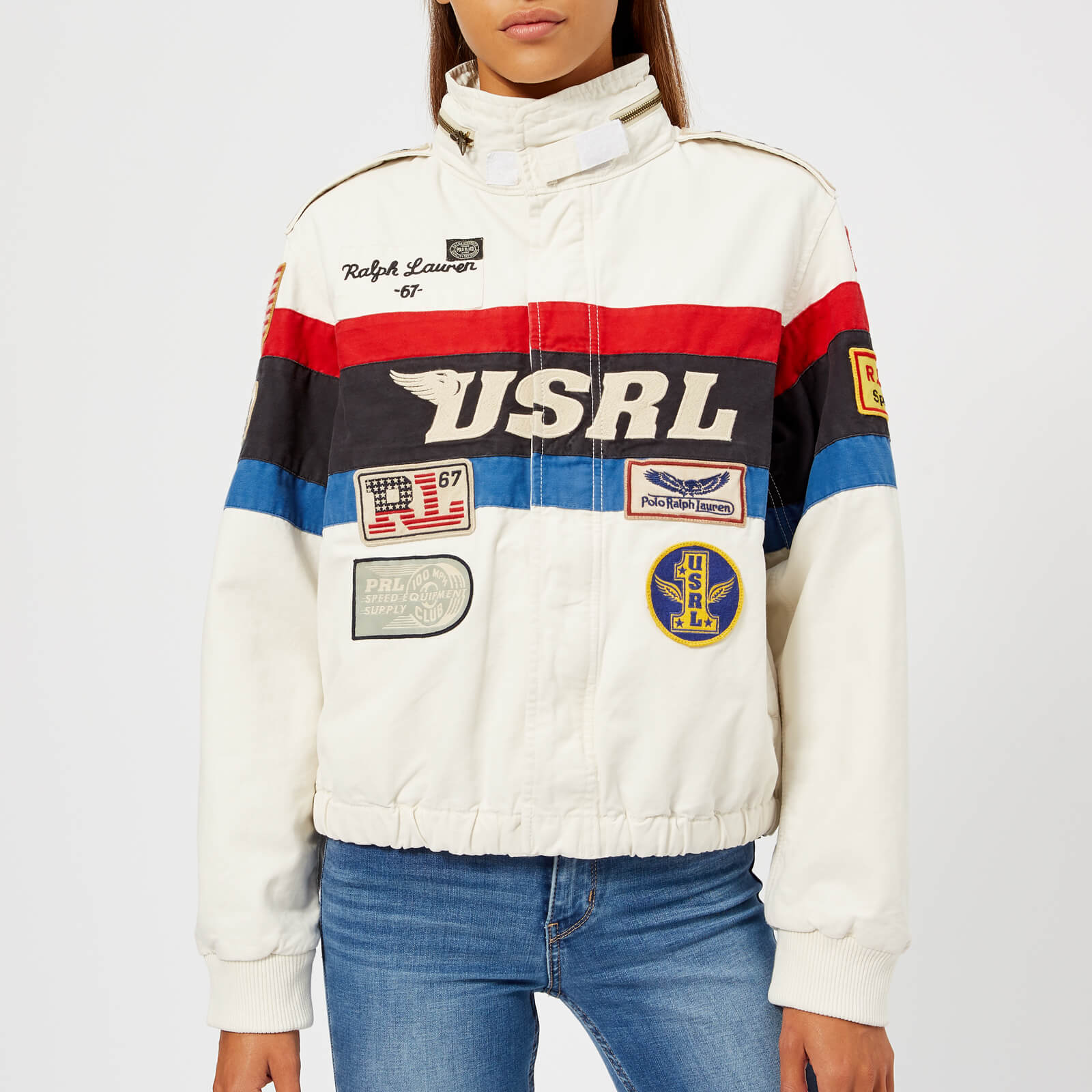 362ce7ea Polo Ralph Lauren Women's Racing Bomber Jacket - White/Blue/Red/Black Multi  - Free UK Delivery over £50