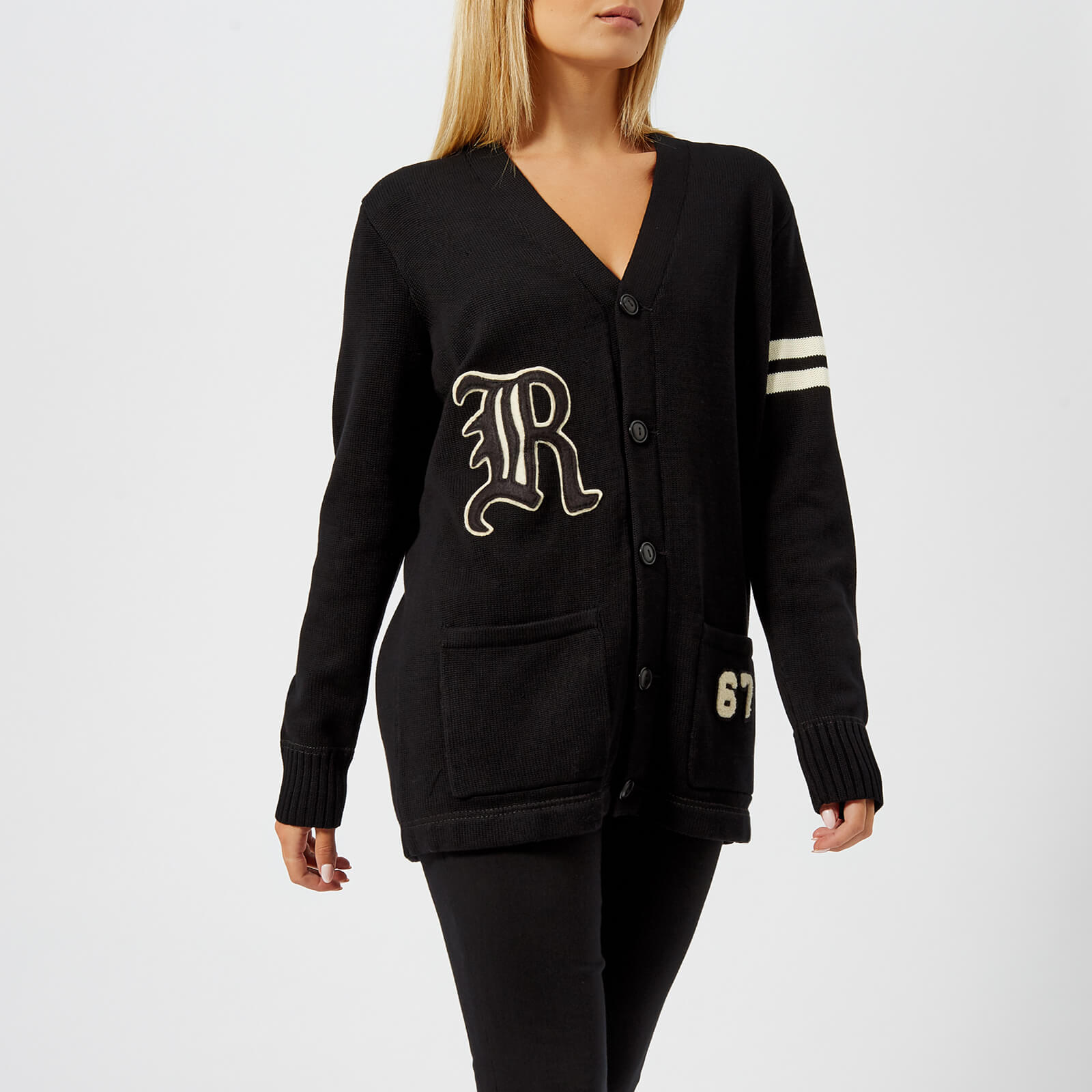 c93bd28e3eb Polo Ralph Lauren Women s Varsity Cardigan - Black Cream - Free UK Delivery  over £50