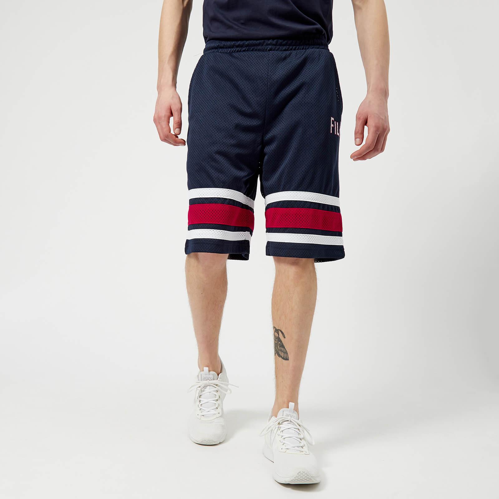 cb98601b1aae FILA Men s Parker Stripe Detail Mesh Long Shorts - Navy Red - Free ...
