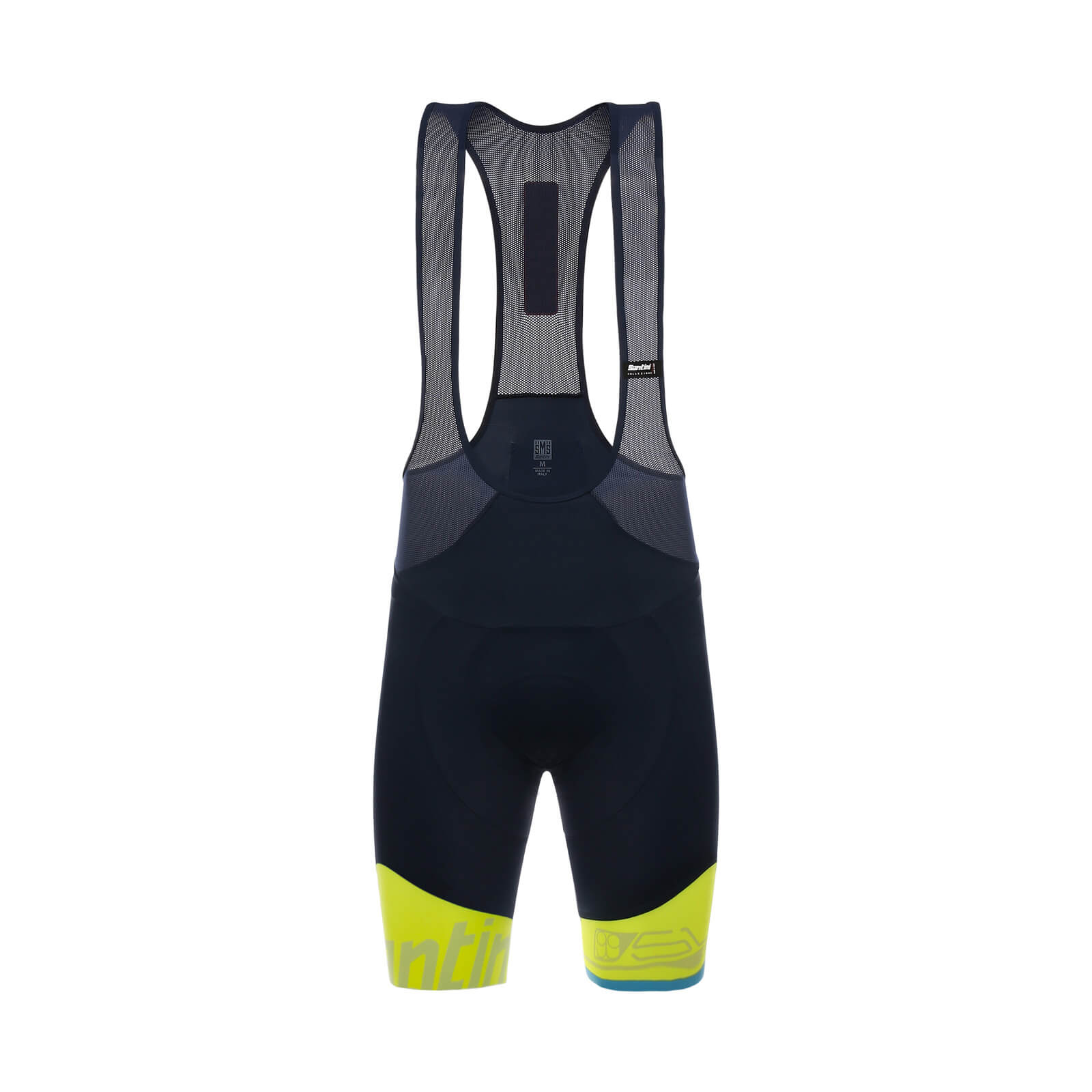 Santini Sleek 99 Aero Light Bib Shorts - Blue/Yellow