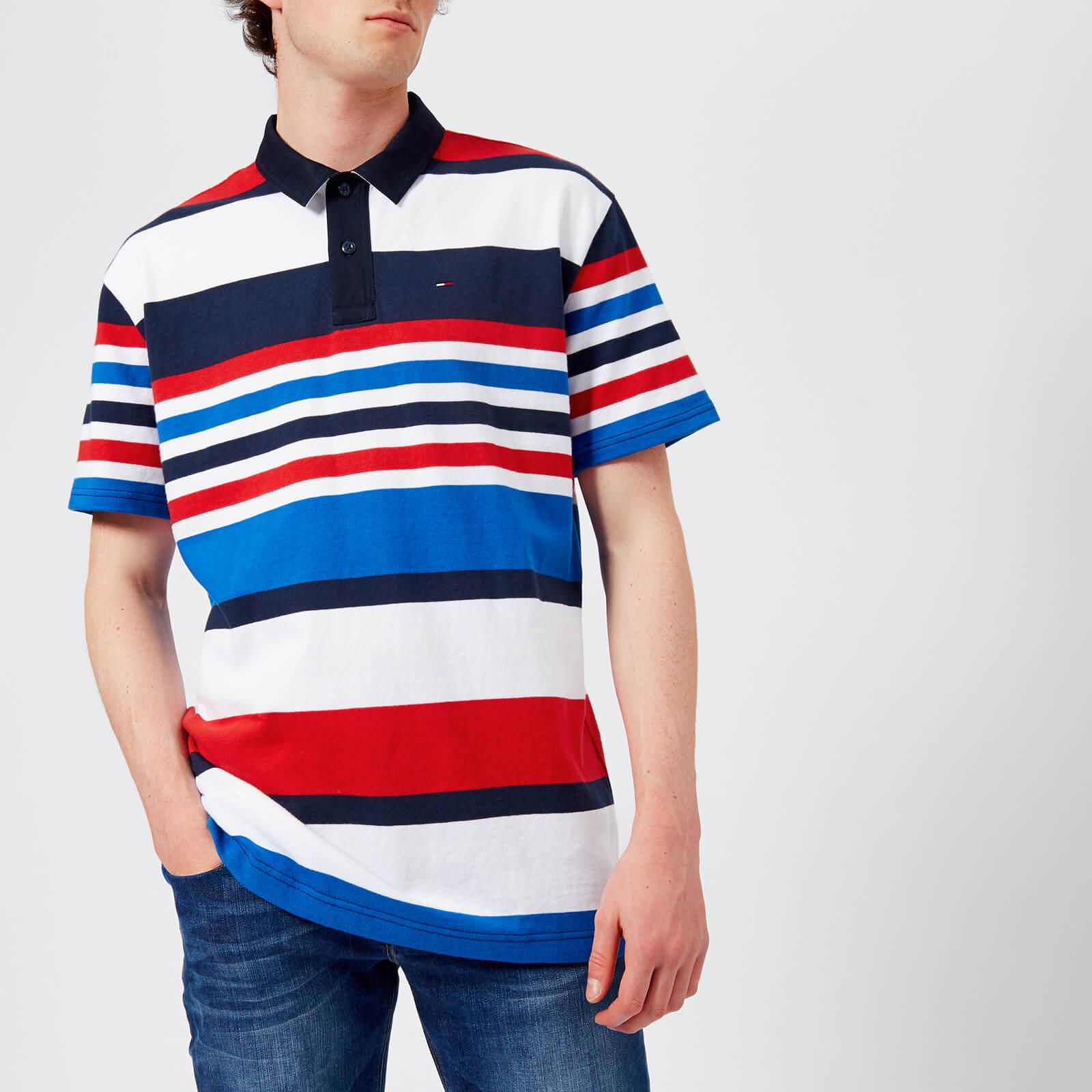 8316003e Tommy Jeans Men's Stripe Polo Shirt - Black Iris/Multi - Free UK Delivery  over £50