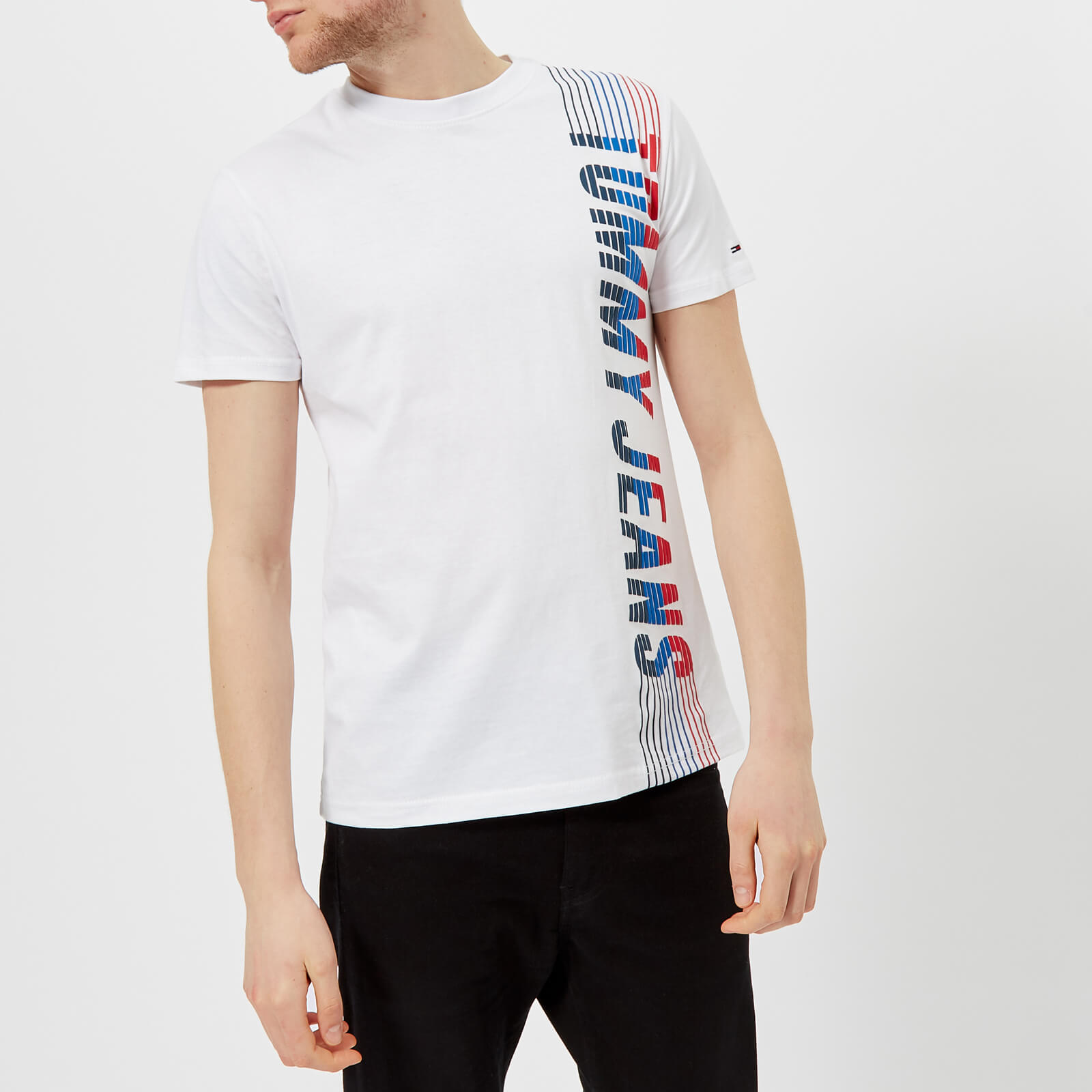 57a40987 Tommy Jeans Men's Vertical Logo T-Shirt - Classic White - Free UK Delivery  over £50