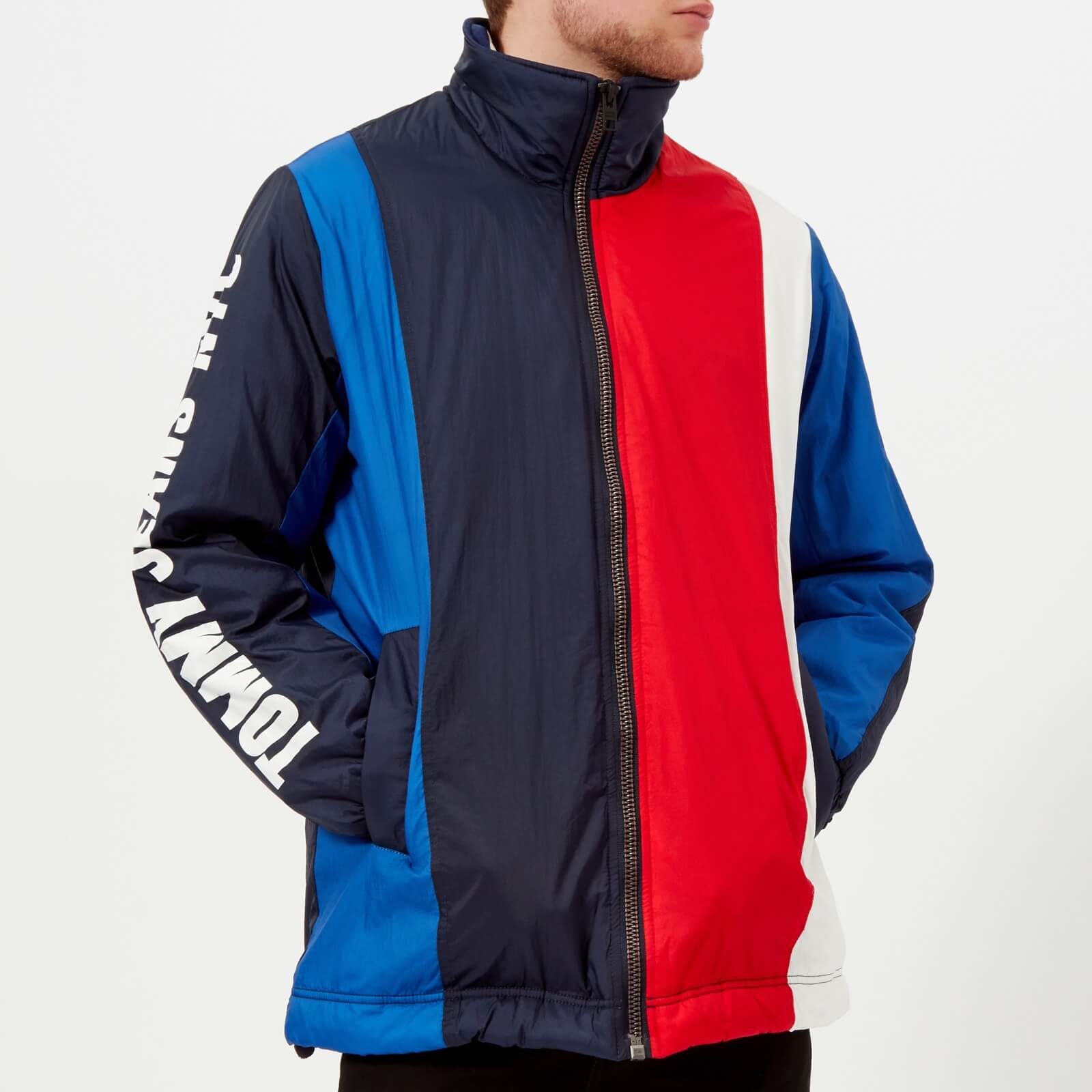 69fcc2b896 Tommy Jeans Men s Oversize Colorblock Striped Jacket - Black Iris Multi -  Free UK Delivery over £50