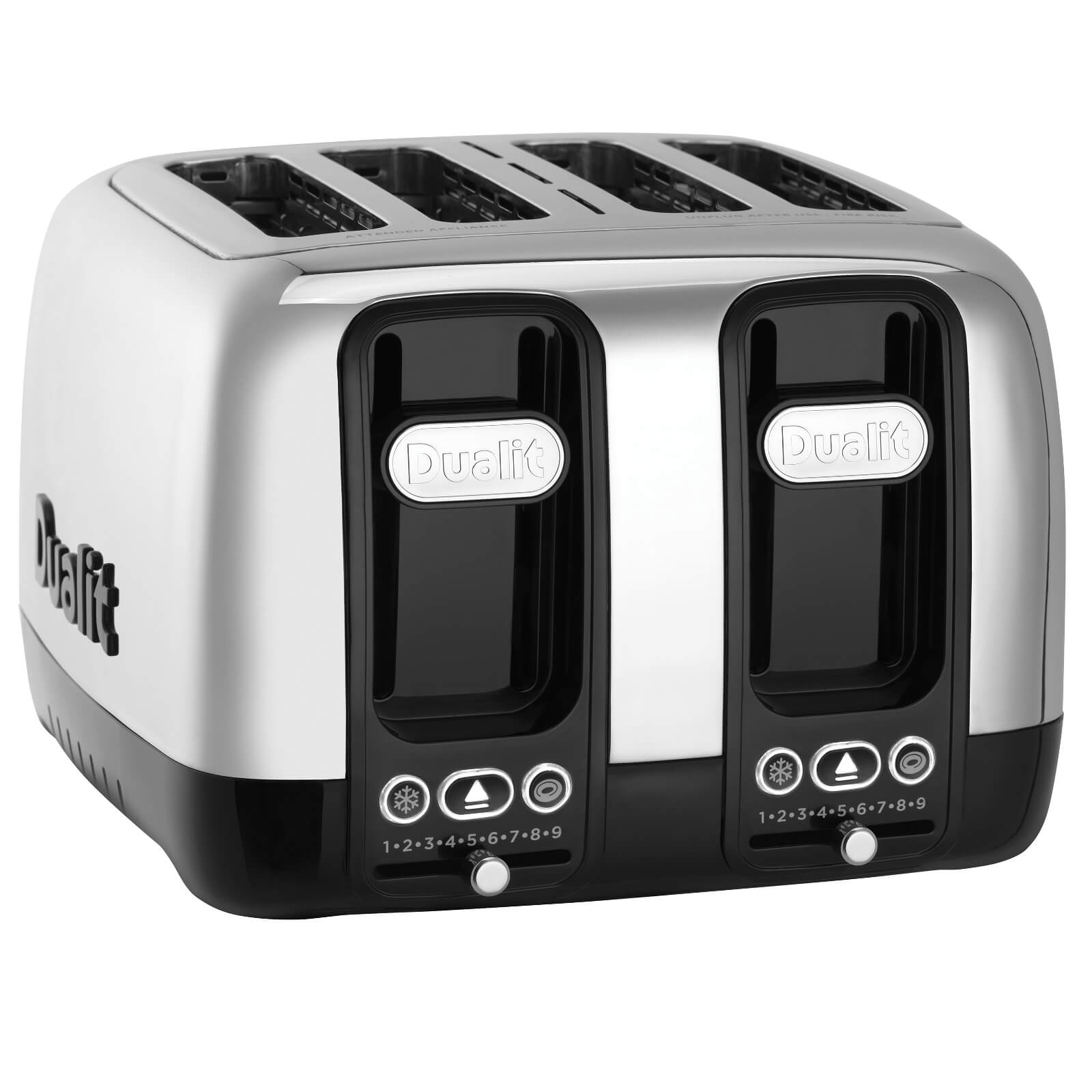 Dualit 46600 Domus 4 Slot Toaster - Polished Steel/Black