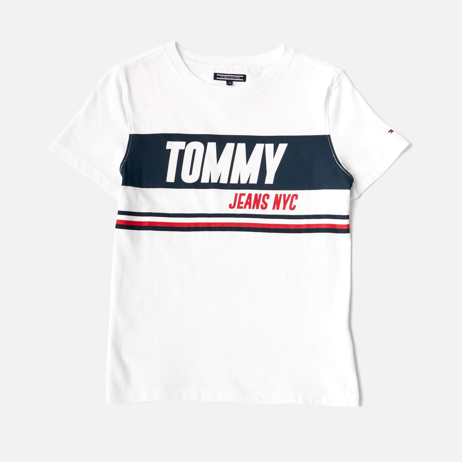 2ea11e48 Tommy Hilfiger Boys' Sporty Block Logo T-Shirt - Bright White Clothing |  TheHut.com