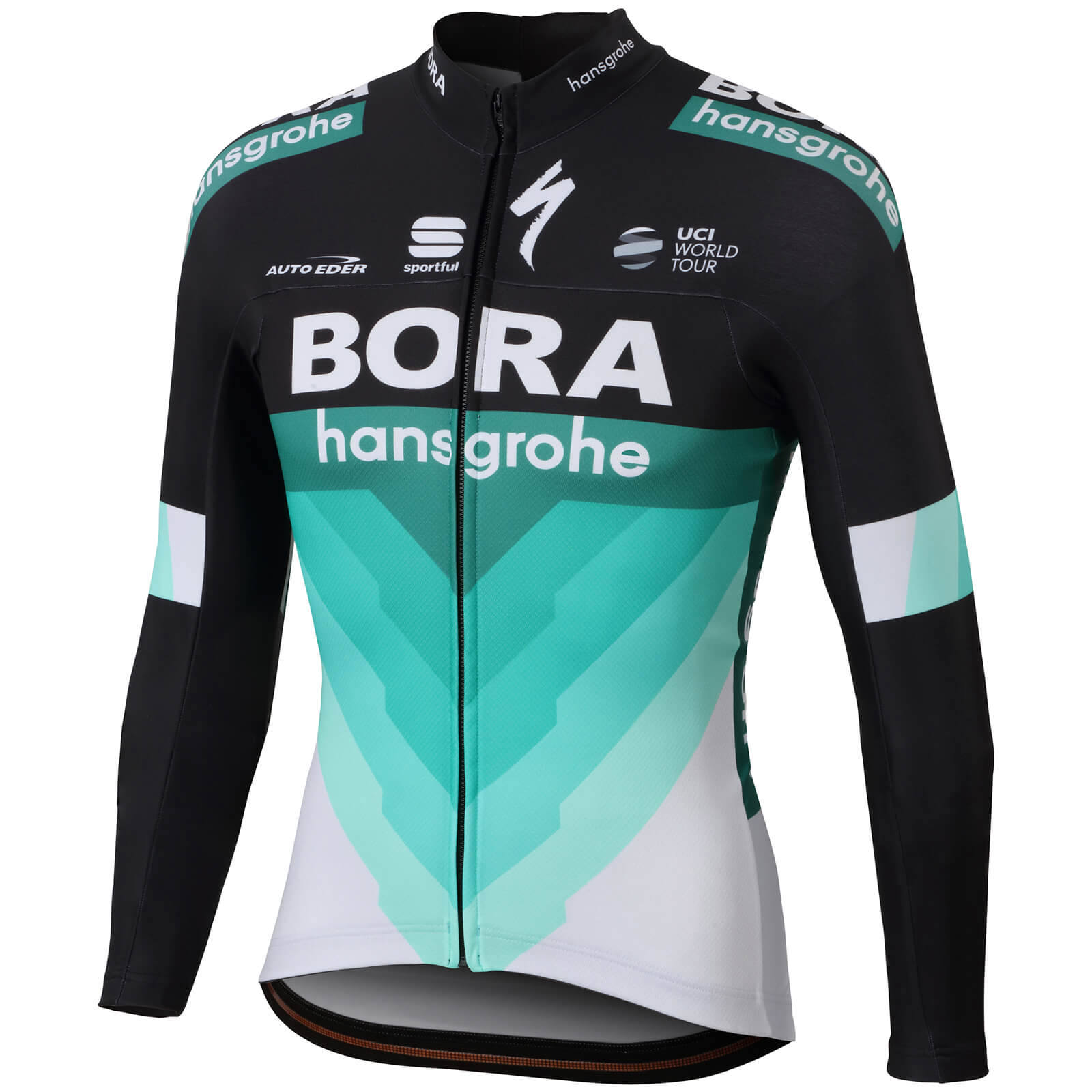 Sportful Bora Hansgrohe BodyFit Thermal Long Sleeve Jersey - Black Green  11fe1e538