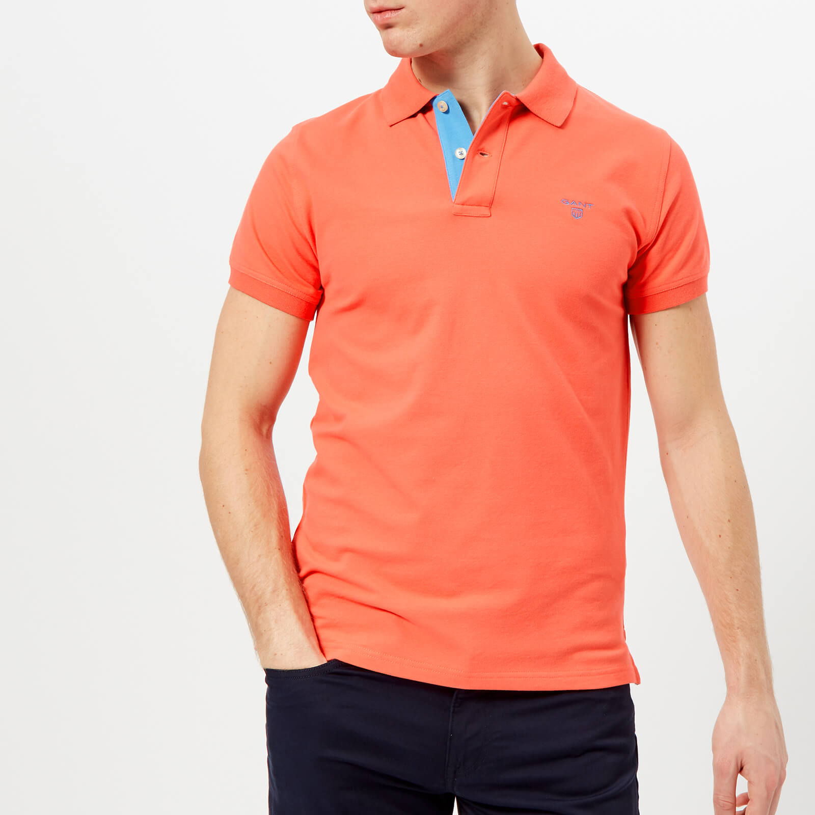 6571683620e GANT Men s Contrast Collar Polo Shirt - Strong Coral Clothing ...