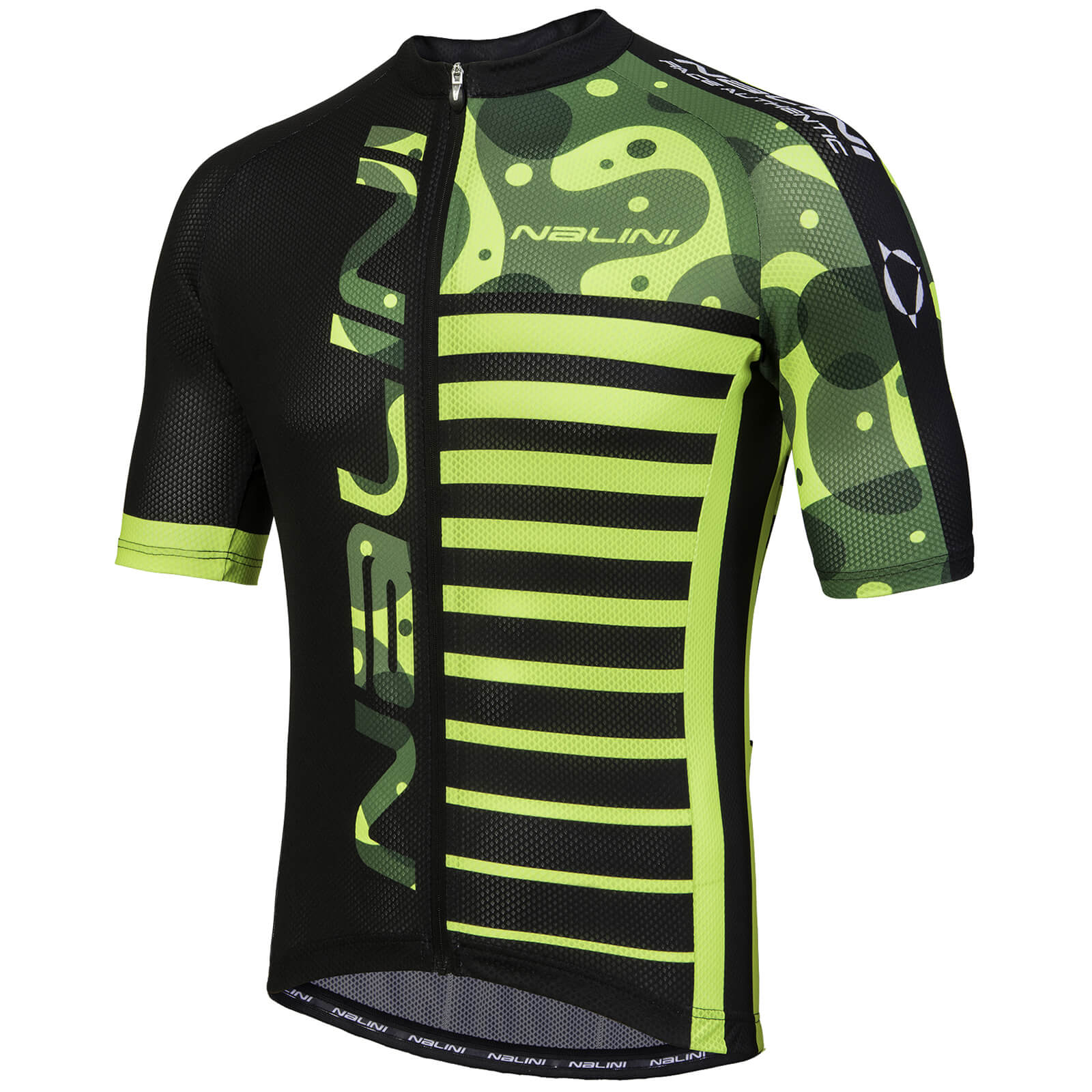 Nalini Cross Short Sleeve Jersey - Black/Fluro/Green