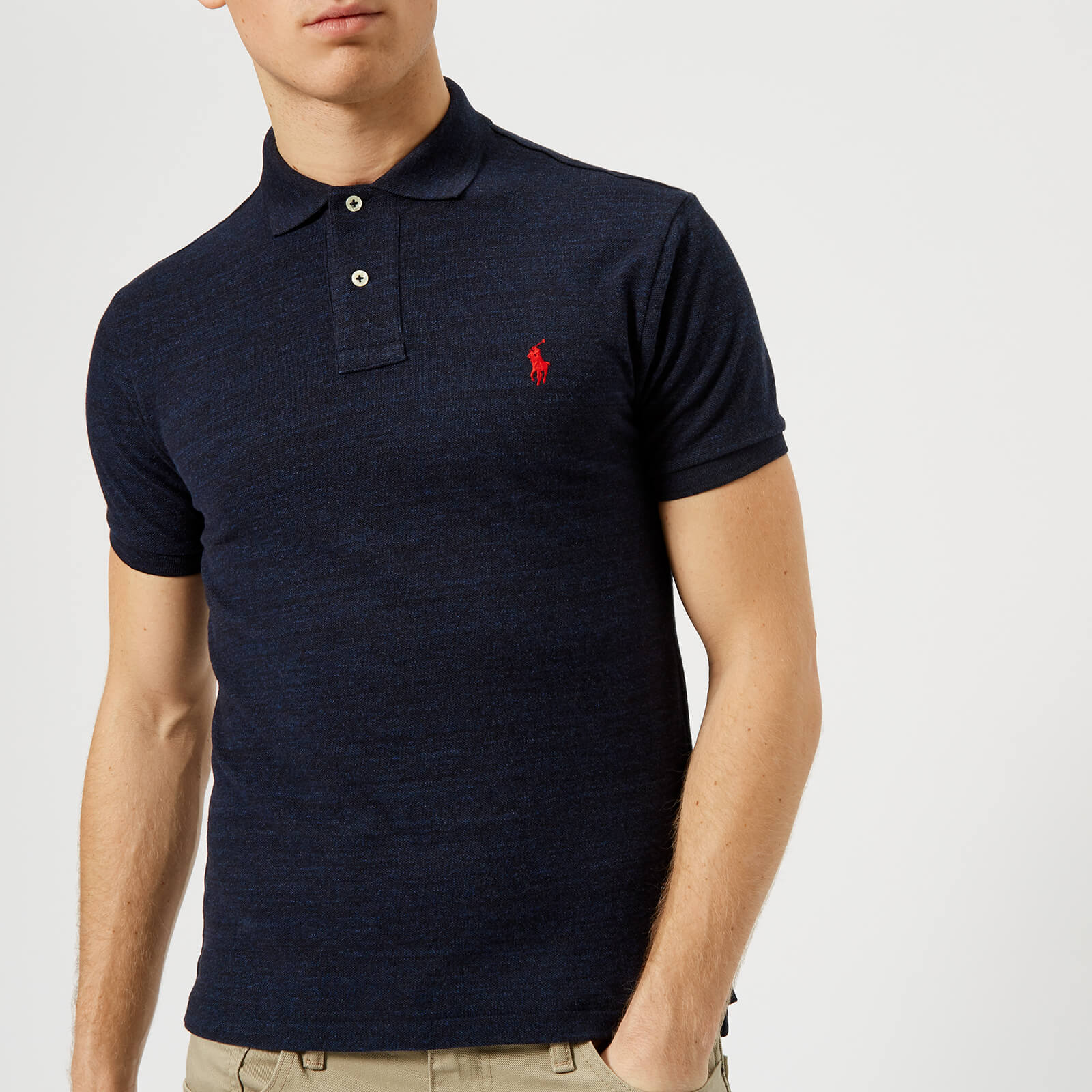 3a74748eb831 Polo Ralph Lauren Men s Slim Fit Short Sleeve Polo Shirt - Worth Navy  Heather - Free UK Delivery over £50