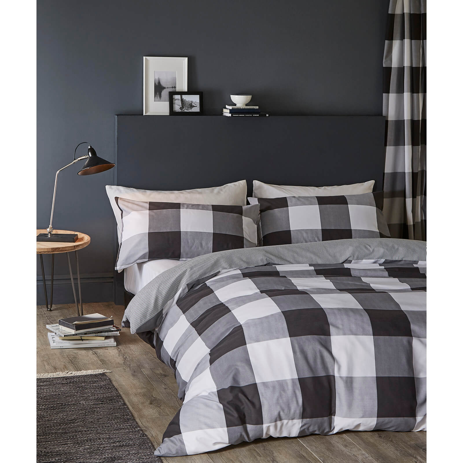 Catherine Lansfield Boston Check Duvet Set - Black