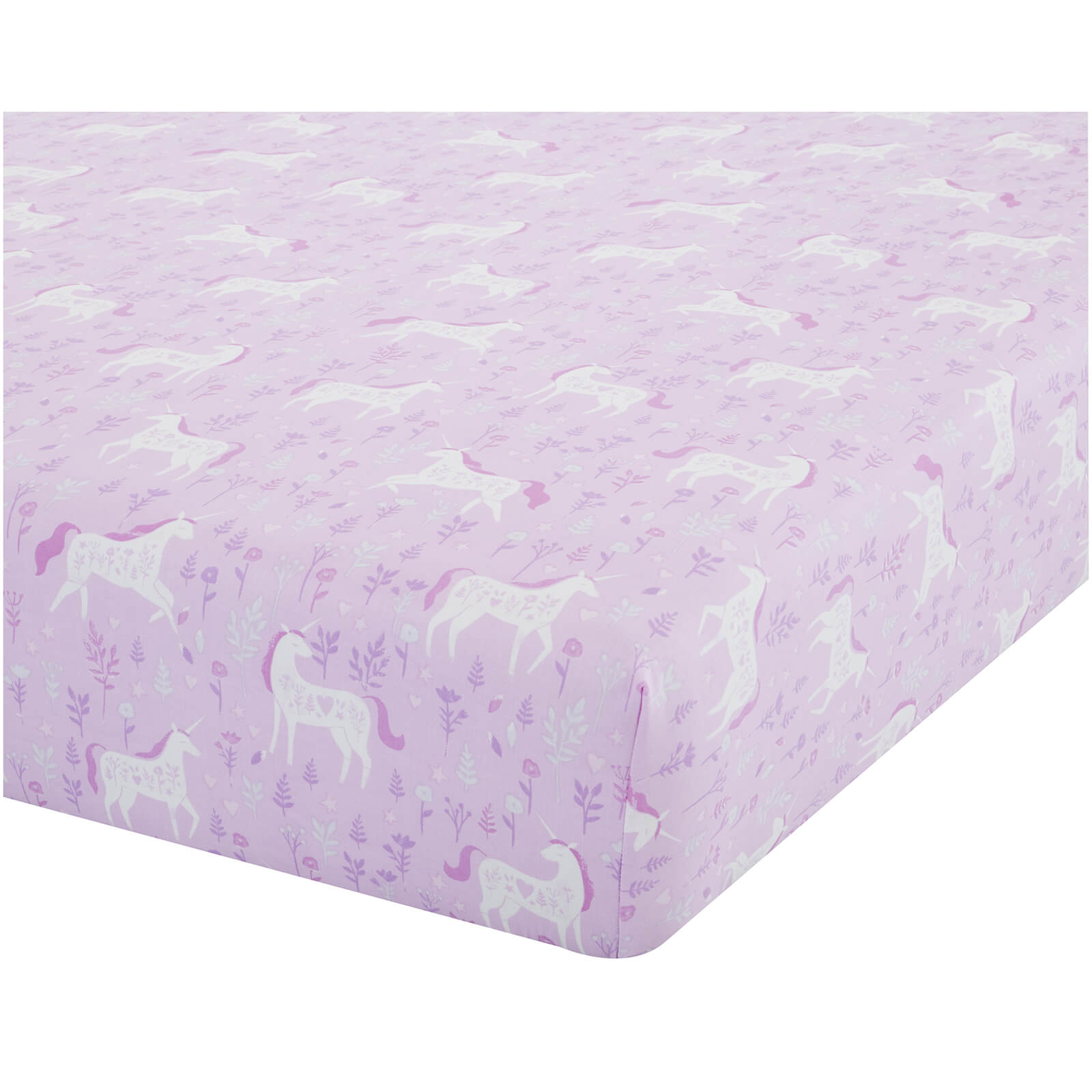 Catherine Lansfield Folk Unicorn Fitted Sheet - Pink