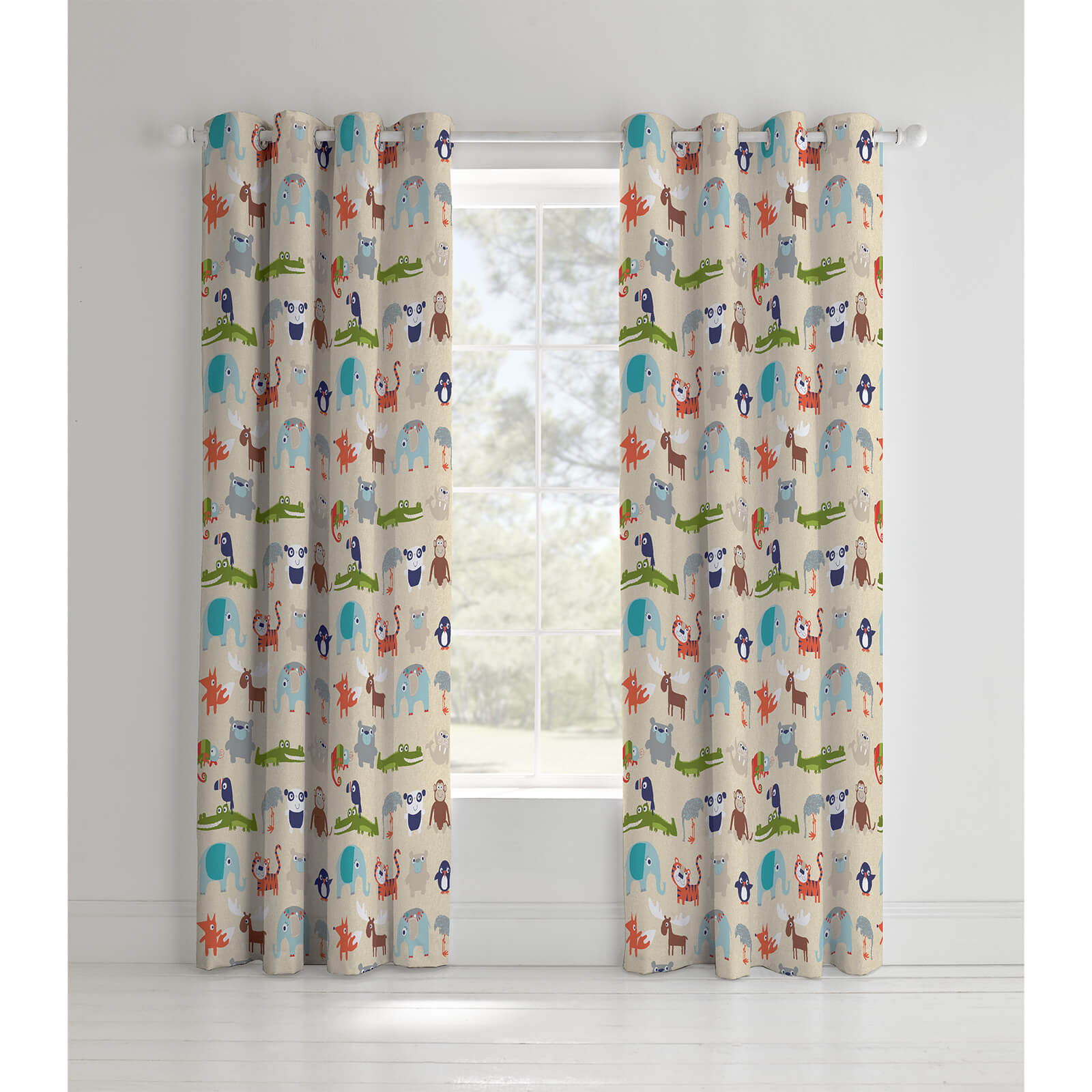 Catherine Lansfield Animal Kingdom Curtains - Multi - 168 x 183cm